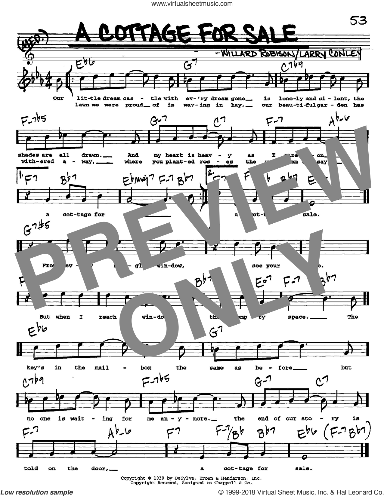 A Cottage For Sale sheet music for voice and other instruments  by Larry Conley and Willard Robison, intermediate skill level