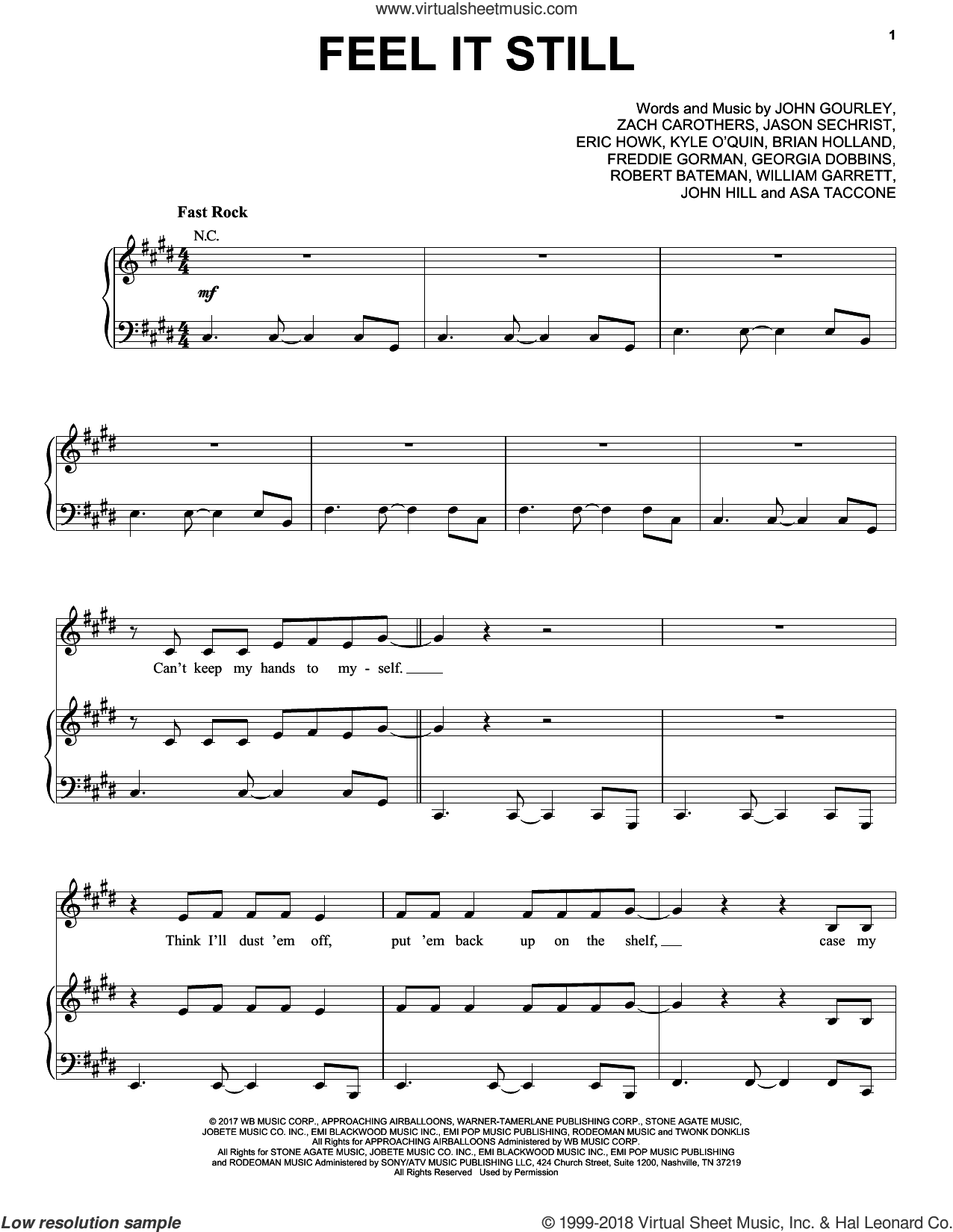 Feel It Still sheet music for voice, piano or guitar by Portugal. The Man, intermediate. Score Image Preview.