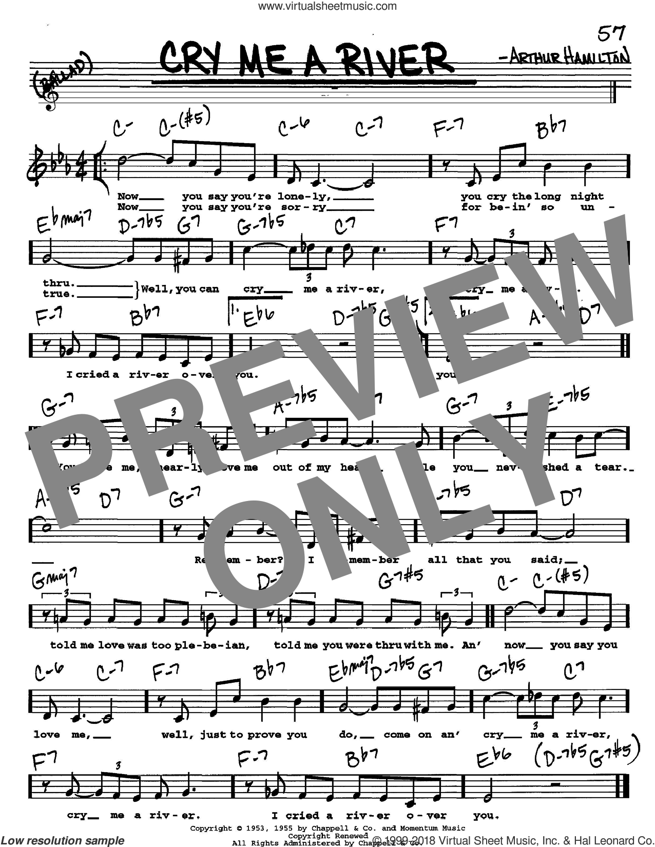 Cry Me A River sheet music for voice and other instruments (Vocal Volume 2) by Arthur Hamilton. Score Image Preview.