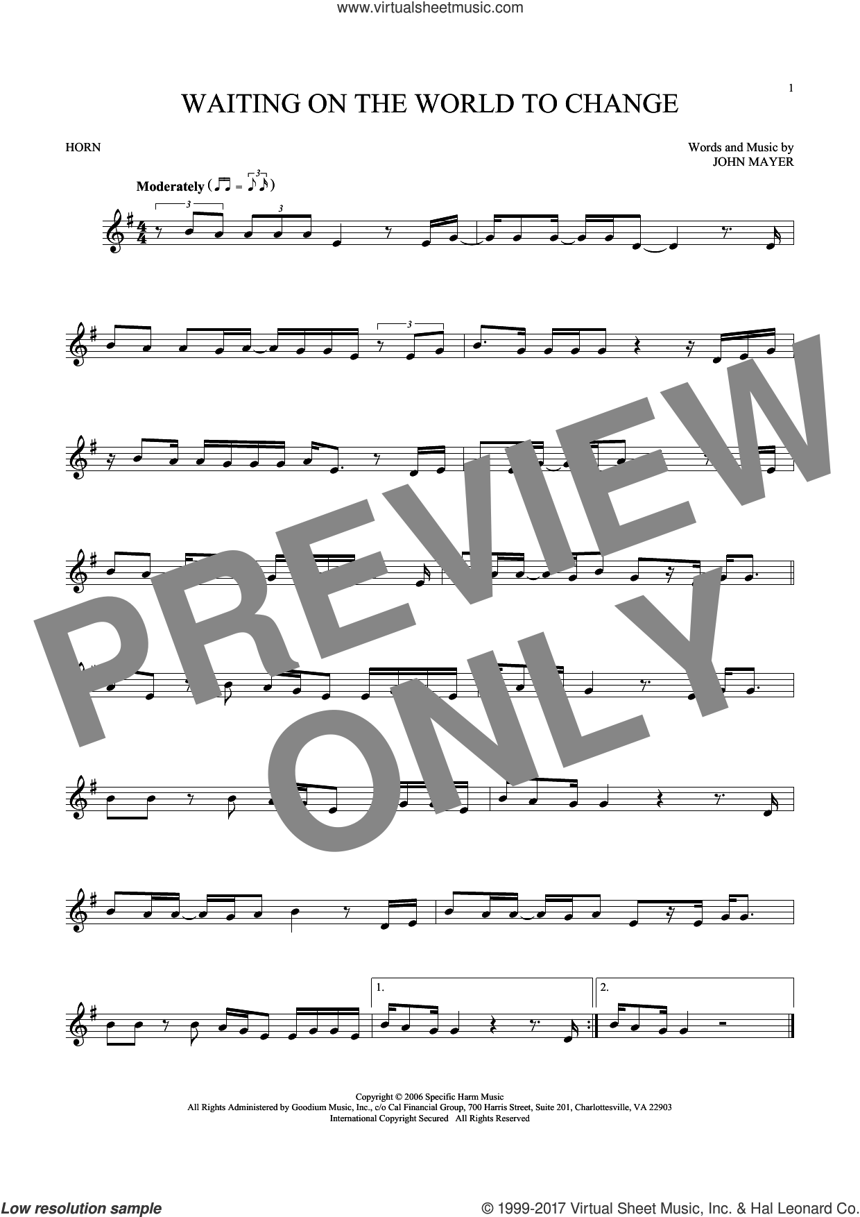 Waiting On The World To Change sheet music for horn solo by John Mayer. Score Image Preview.