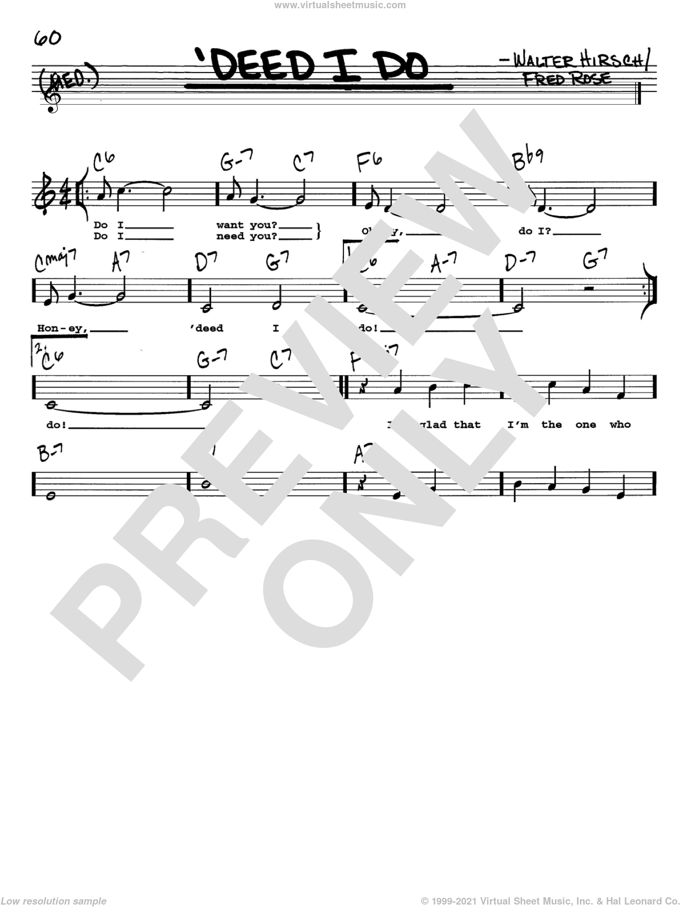 'Deed I Do sheet music for voice and other instruments (Vocal Volume 2) by Walter Hirsch, Diana Krall and Fred Rose. Score Image Preview.