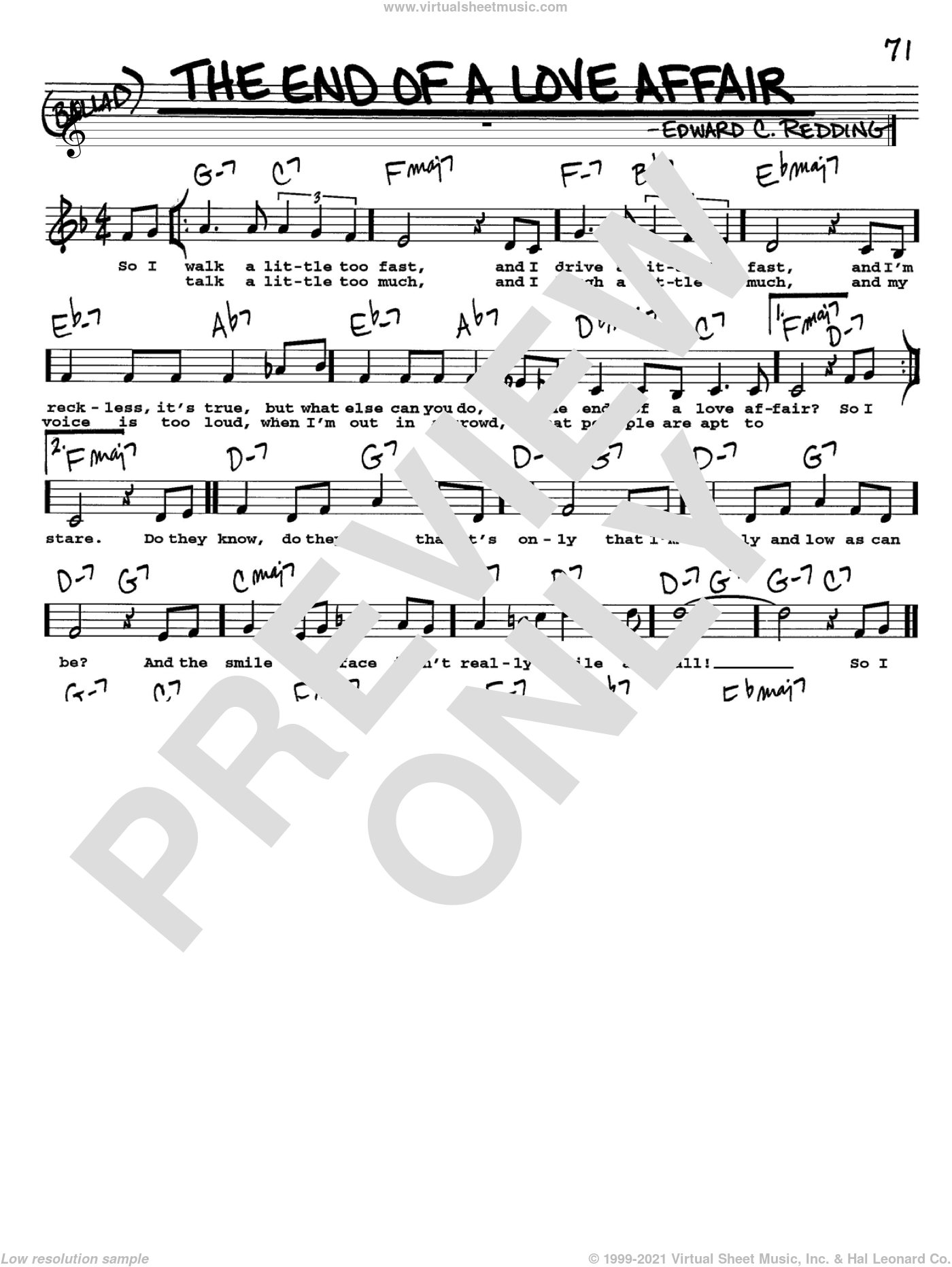 The End Of A Love Affair sheet music for voice and other instruments (Vocal Volume 2) by Edward Redding and Frank Sinatra. Score Image Preview.