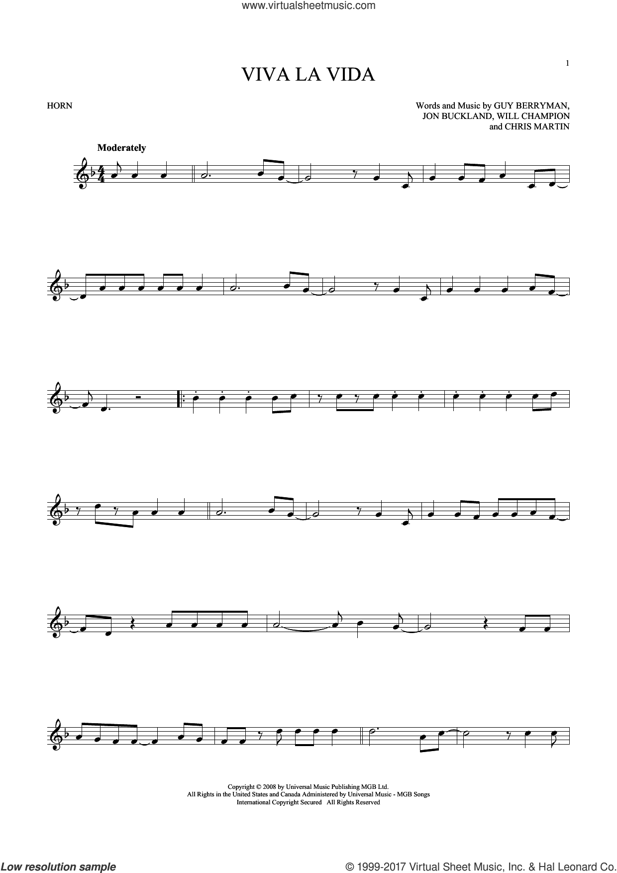 Viva La Vida sheet music for horn solo by Coldplay, intermediate. Score Image Preview.