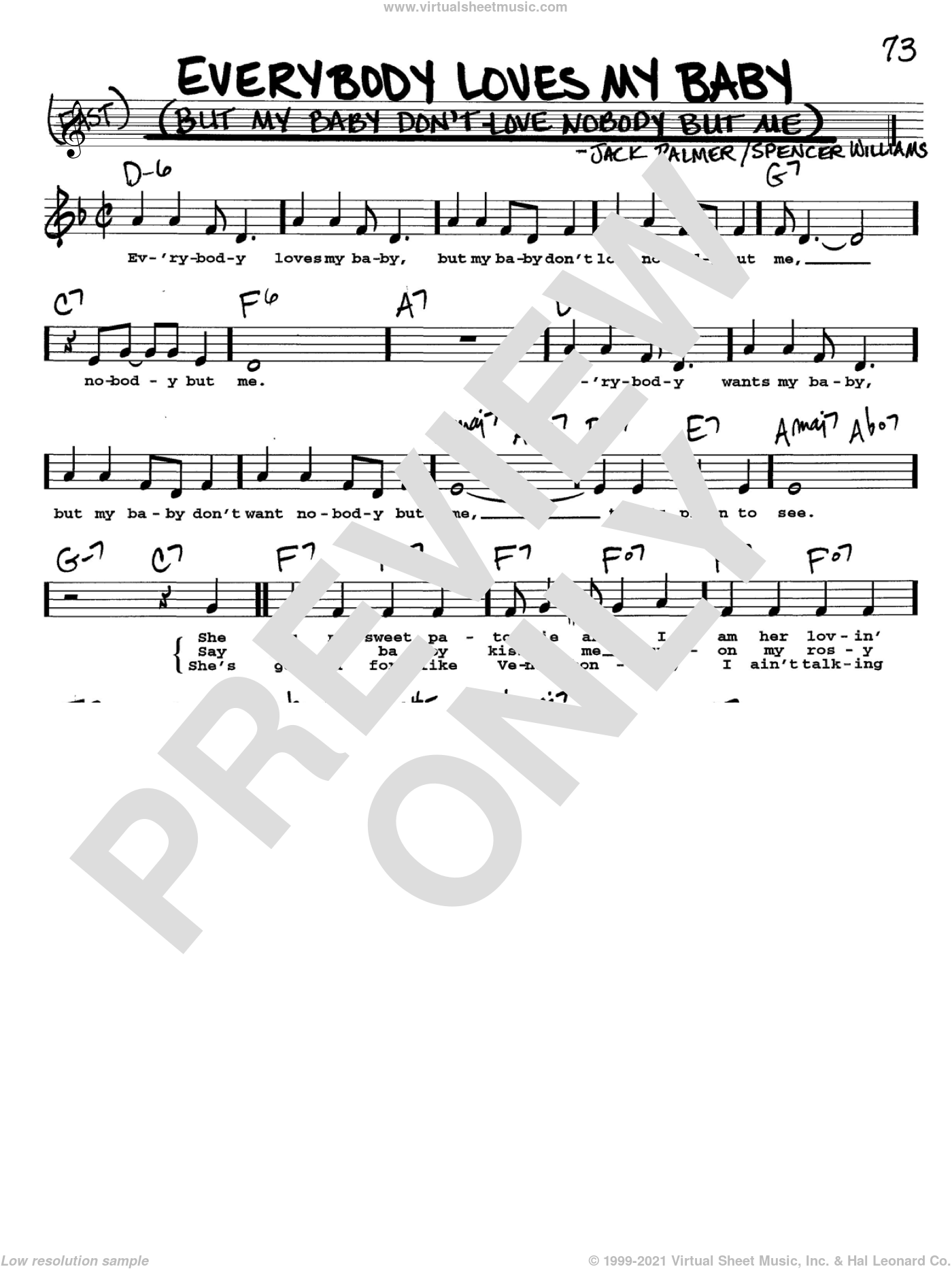 Everybody Loves My Baby (But My Baby Don't Love Nobody But Me) sheet music for voice and other instruments (Vocal Volume 2) by Jack Palmer and Spencer Williams. Score Image Preview.