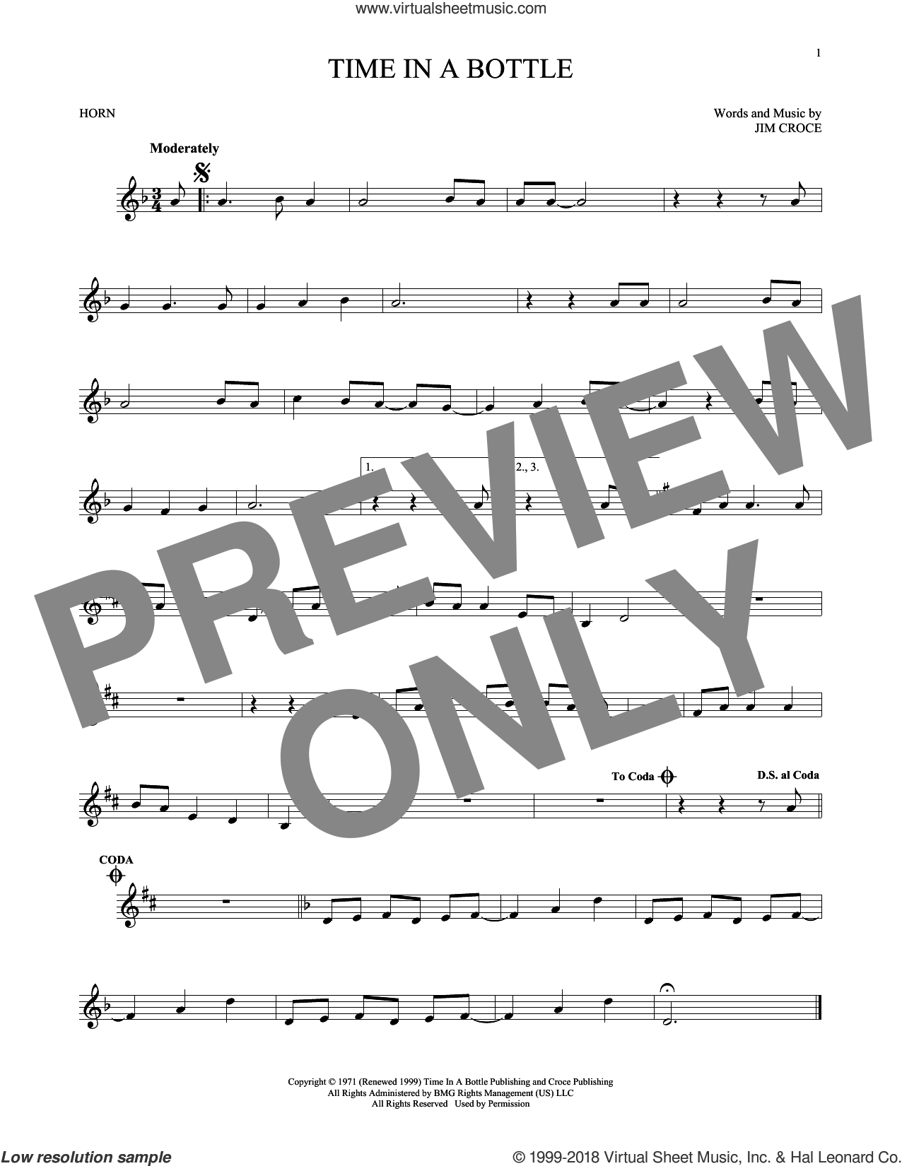 Time In A Bottle sheet music for horn solo by Jim Croce, intermediate skill level