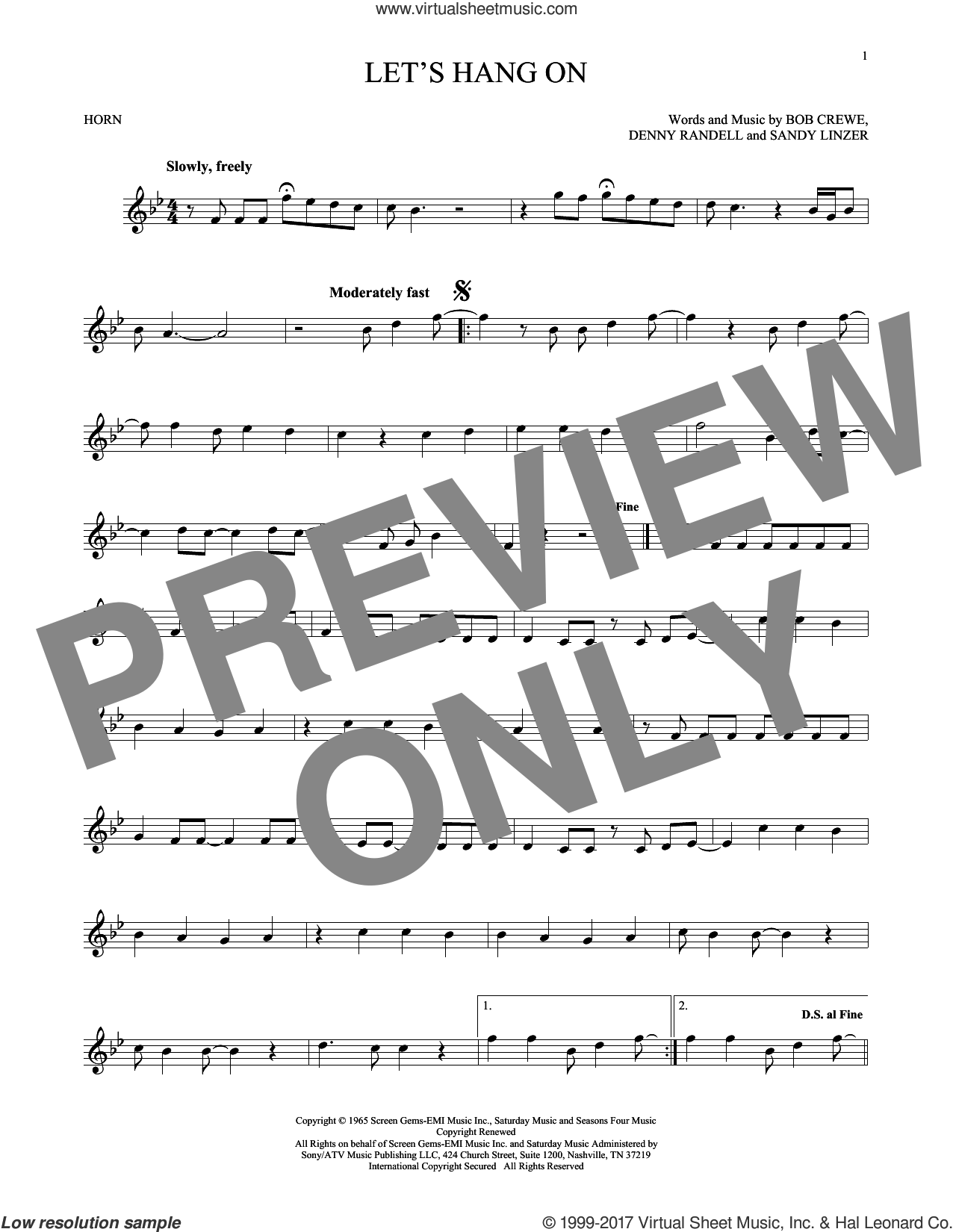 Let's Hang On sheet music for horn solo by The 4 Seasons, Manhattan Transfer, Bob Crewe, Denny Randell and Sandy Linzer, intermediate skill level