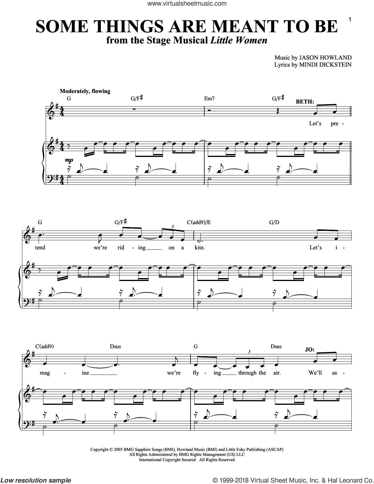 Some Things Are Meant To Be sheet music for two voices and piano by Mindi Dickstein, Richard Walters and Jason Howland, intermediate skill level