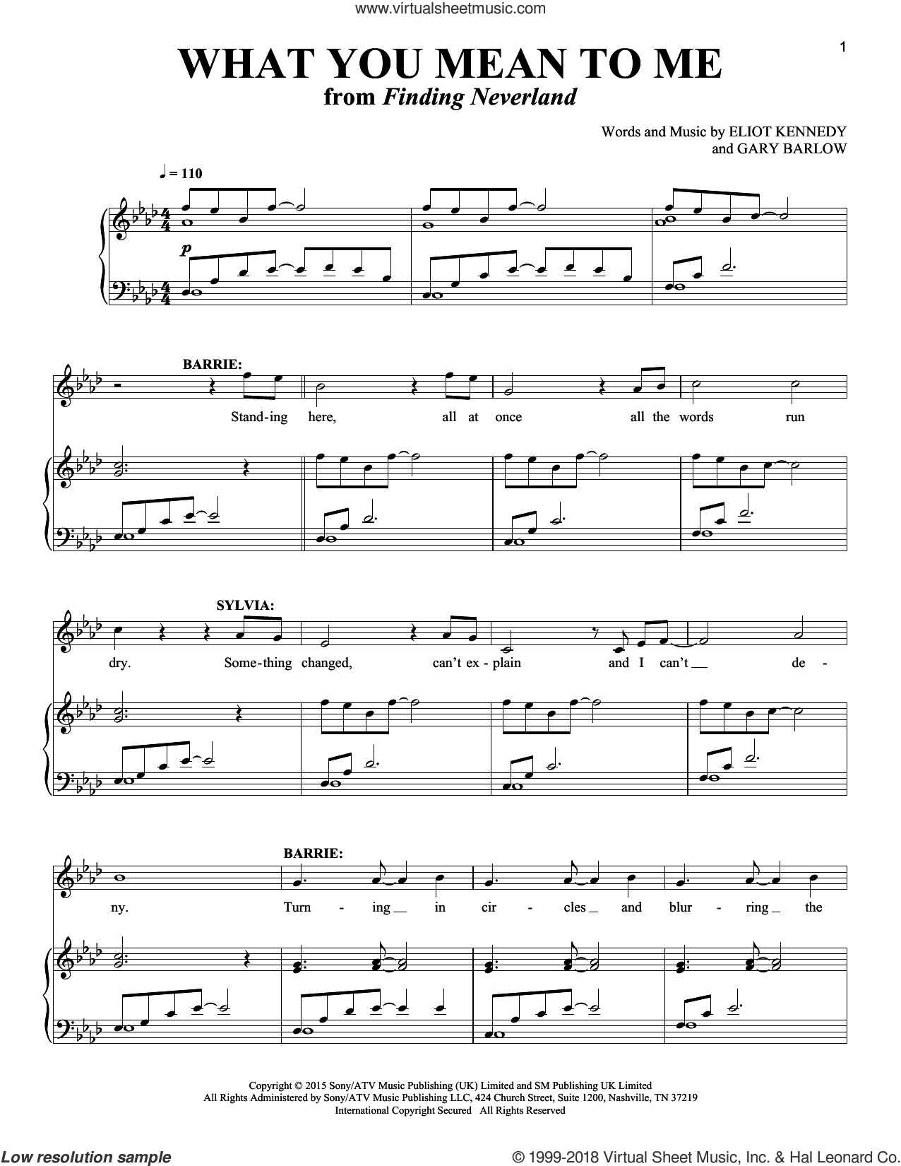 What You Mean To Me sheet music for two voices and piano by Gary Barlow, Richard Walters and Eliot Kennedy, intermediate skill level