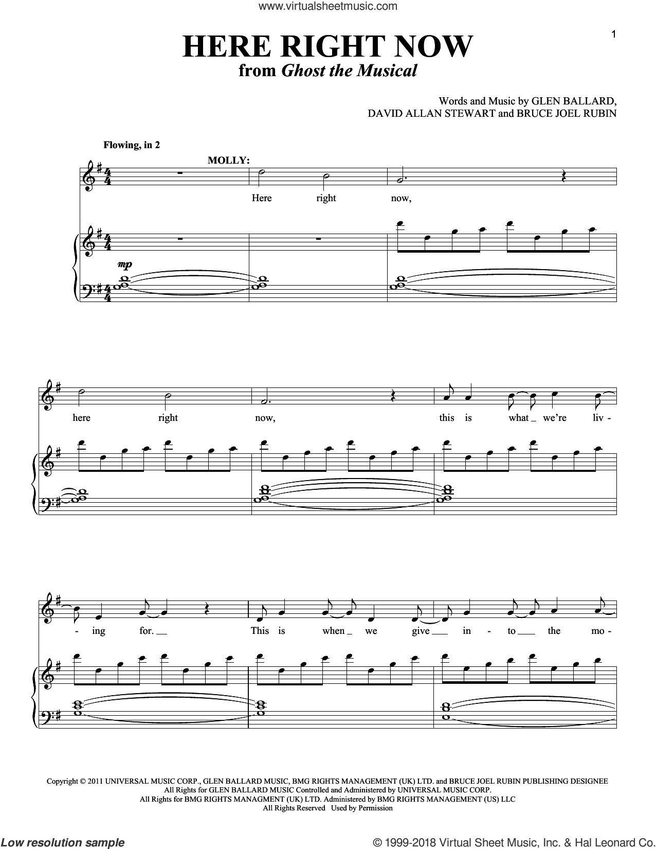 Here Right Now sheet music for two voices and piano by Glen Ballard, Richard Walters, Bruce Joel Rubin and David Allan Stewart, intermediate skill level