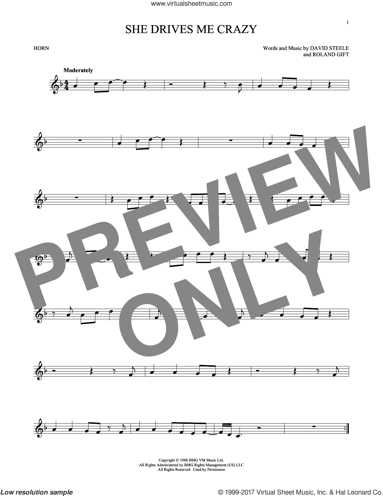 She Drives Me Crazy sheet music for horn solo by Fine Young Cannibals, David Steele and Roland Gift, intermediate skill level