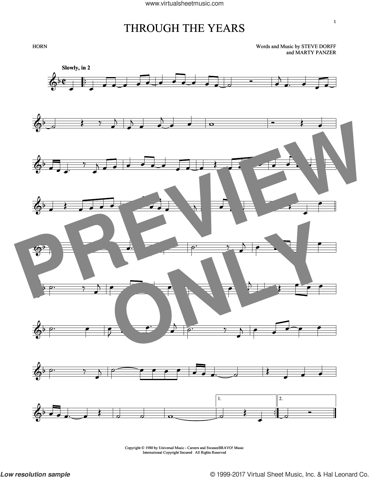 Through The Years sheet music for horn solo by Kenny Rogers, Marty Panzer and Steve Dorff, intermediate skill level