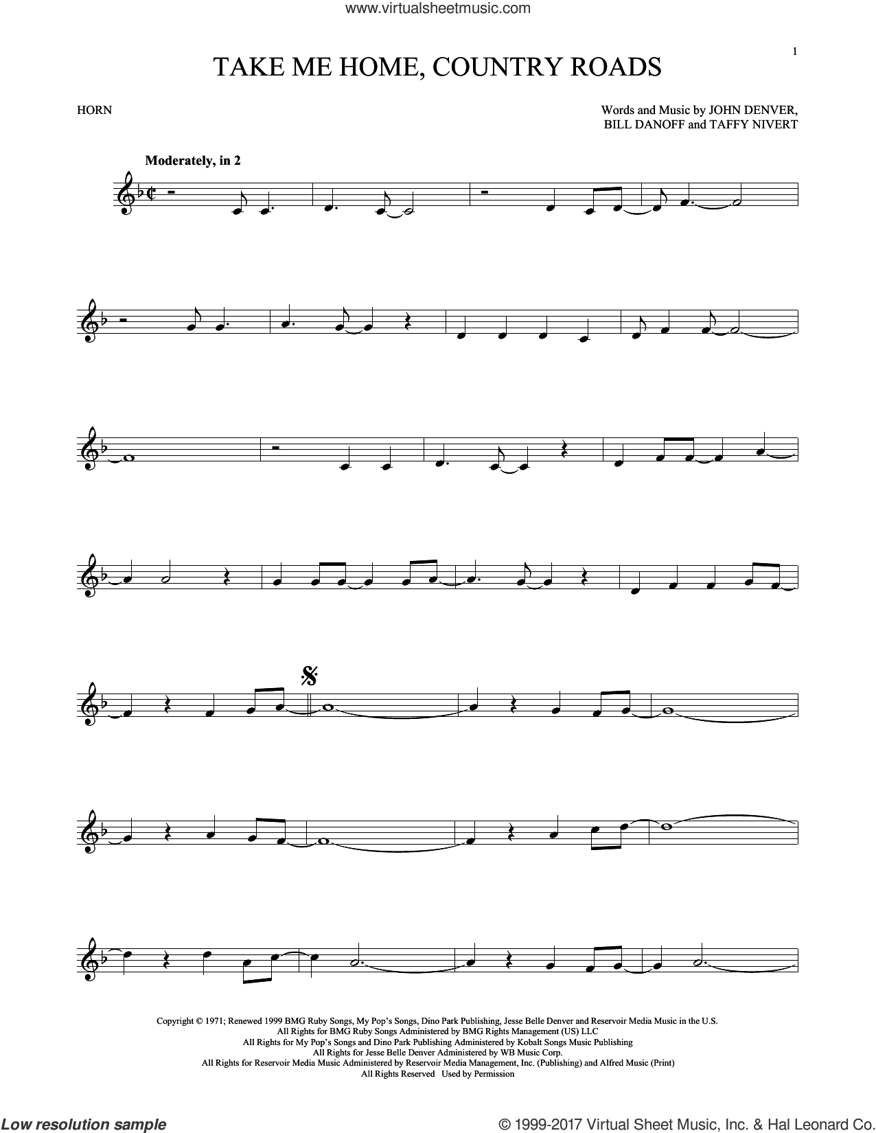 Take Me Home, Country Roads sheet music for horn solo by John Denver, Bill Danoff and Taffy Nivert, intermediate. Score Image Preview.