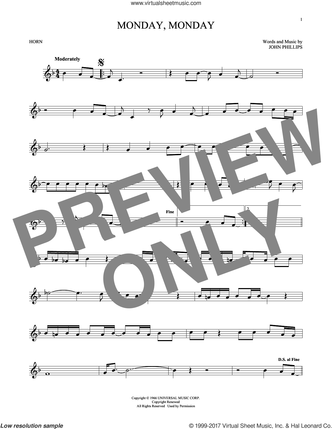 Monday, Monday sheet music for horn solo by The Mamas & The Papas and John Phillips, intermediate. Score Image Preview.