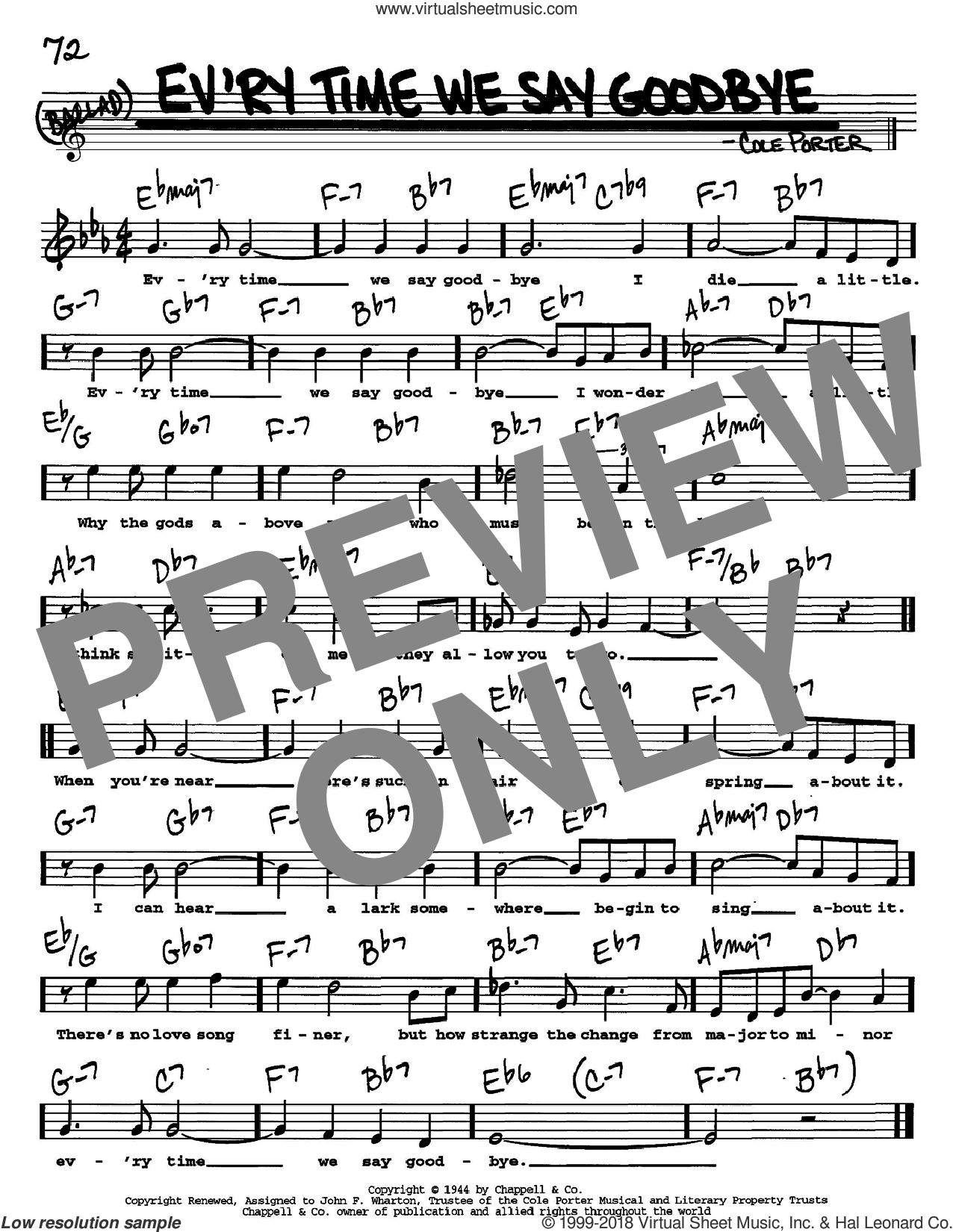 Ev'ry Time We Say Goodbye sheet music for voice and other instruments (Vocal Volume 2) by Cole Porter. Score Image Preview.