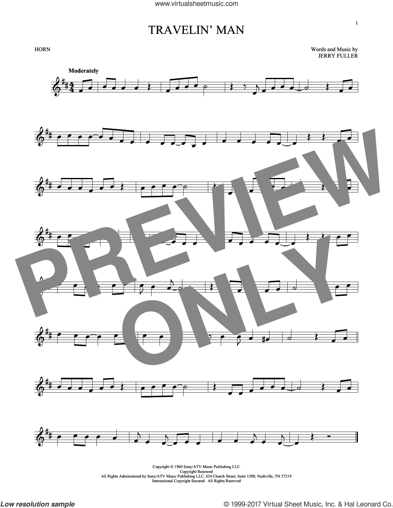 Travelin' Man sheet music for horn solo by Ricky Nelson and Jerry Fuller, intermediate. Score Image Preview.