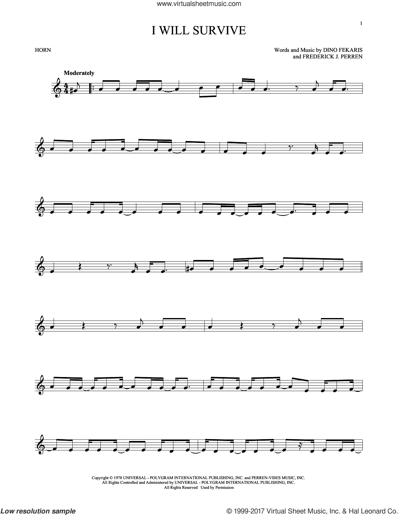 I Will Survive sheet music for horn solo by Gloria Gaynor, Chantay Savage and Frederick Perren, intermediate skill level