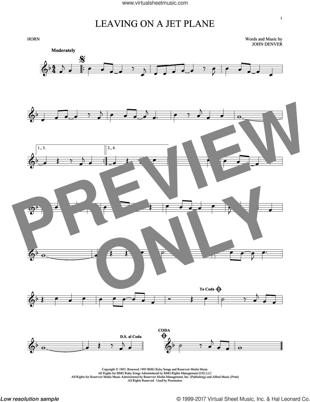 Leaving On A Jet Plane sheet music for horn solo by John Denver and Peter, Paul & Mary, intermediate skill level