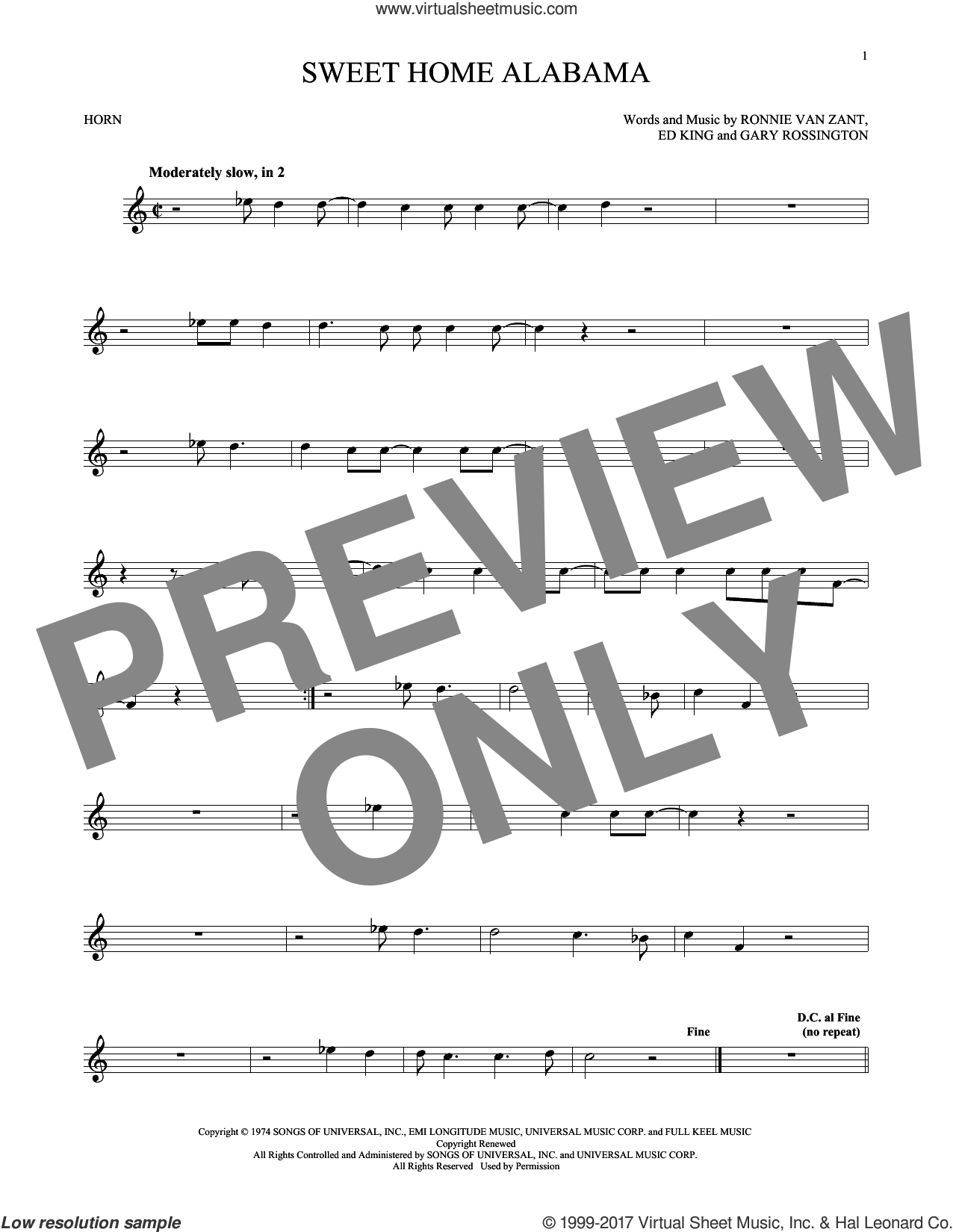 Sweet Home Alabama sheet music for horn solo by Lynyrd Skynyrd, Edward King, Gary Rossington and Ronnie Van Zant. Score Image Preview.