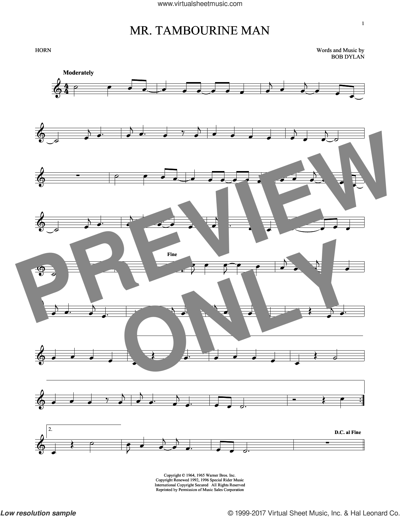 Mr. Tambourine Man sheet music for horn solo by Bob Dylan, intermediate. Score Image Preview.