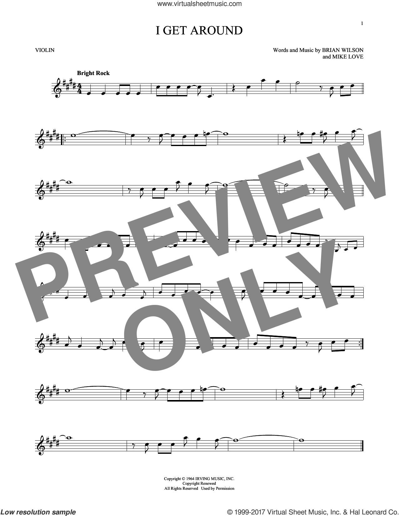 I Get Around sheet music for violin solo by The Beach Boys, Brian Wilson and Mike Love, intermediate skill level