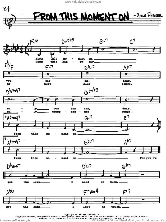 From This Moment On sheet music for voice and other instruments (Vocal Volume 2) by Cole Porter. Score Image Preview.
