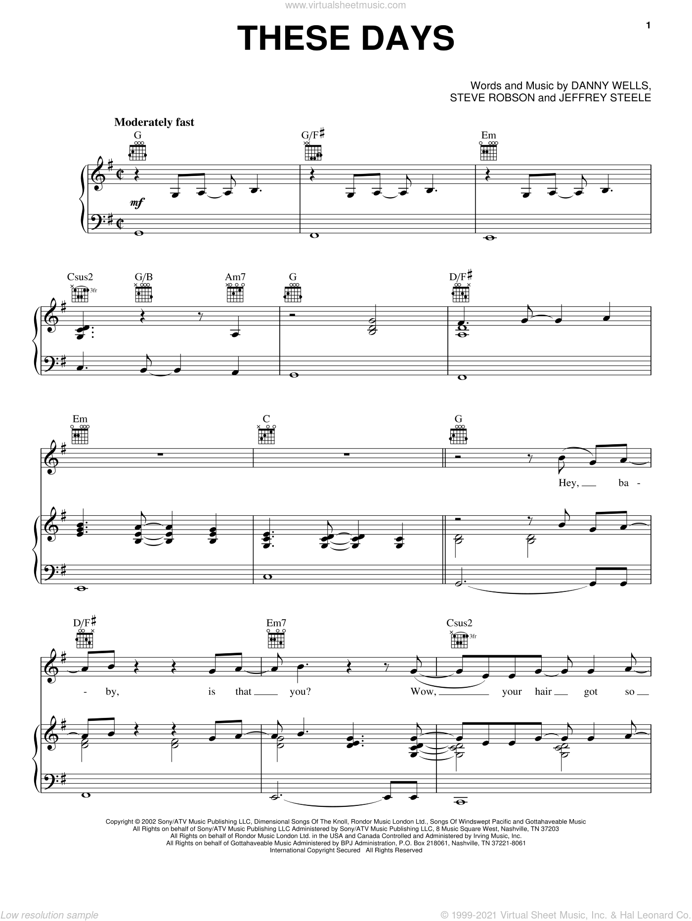 These Days sheet music for voice, piano or guitar by Rascal Flatts, Danny Wells, Jeffrey Steele and Steve Robson, intermediate skill level