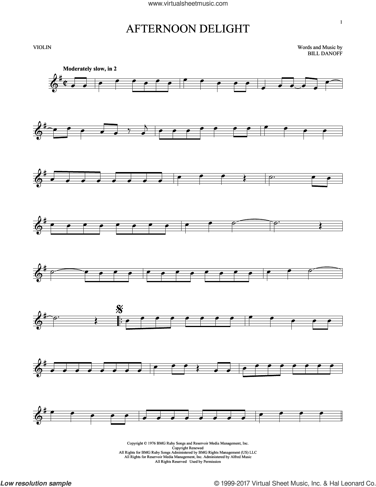 Afternoon Delight sheet music for violin solo by Starland Vocal Band and Bill Danoff, intermediate skill level