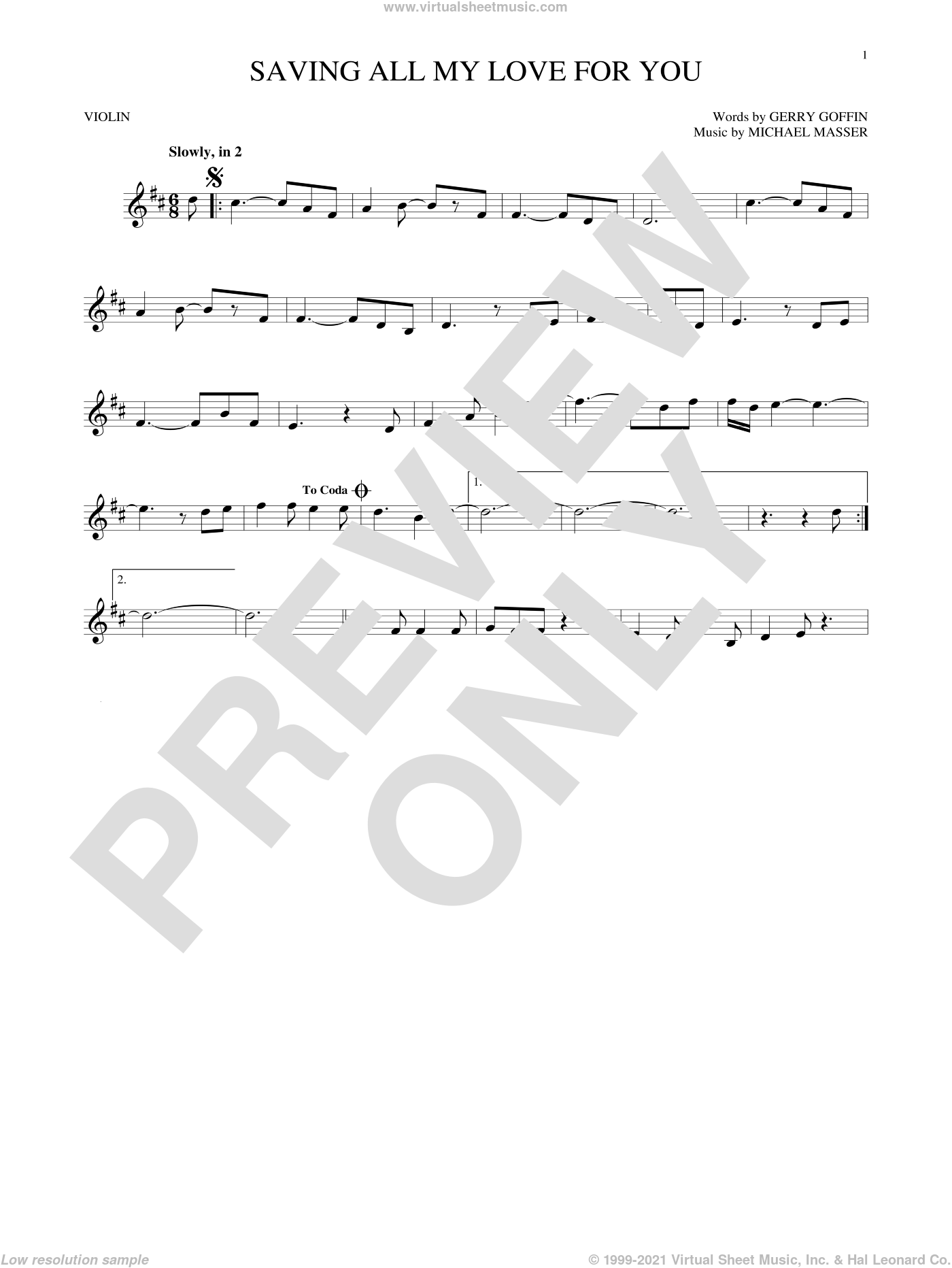 Saving All My Love For You sheet music for violin solo by Whitney Houston, Gerry Goffin and Michael Masser, intermediate skill level