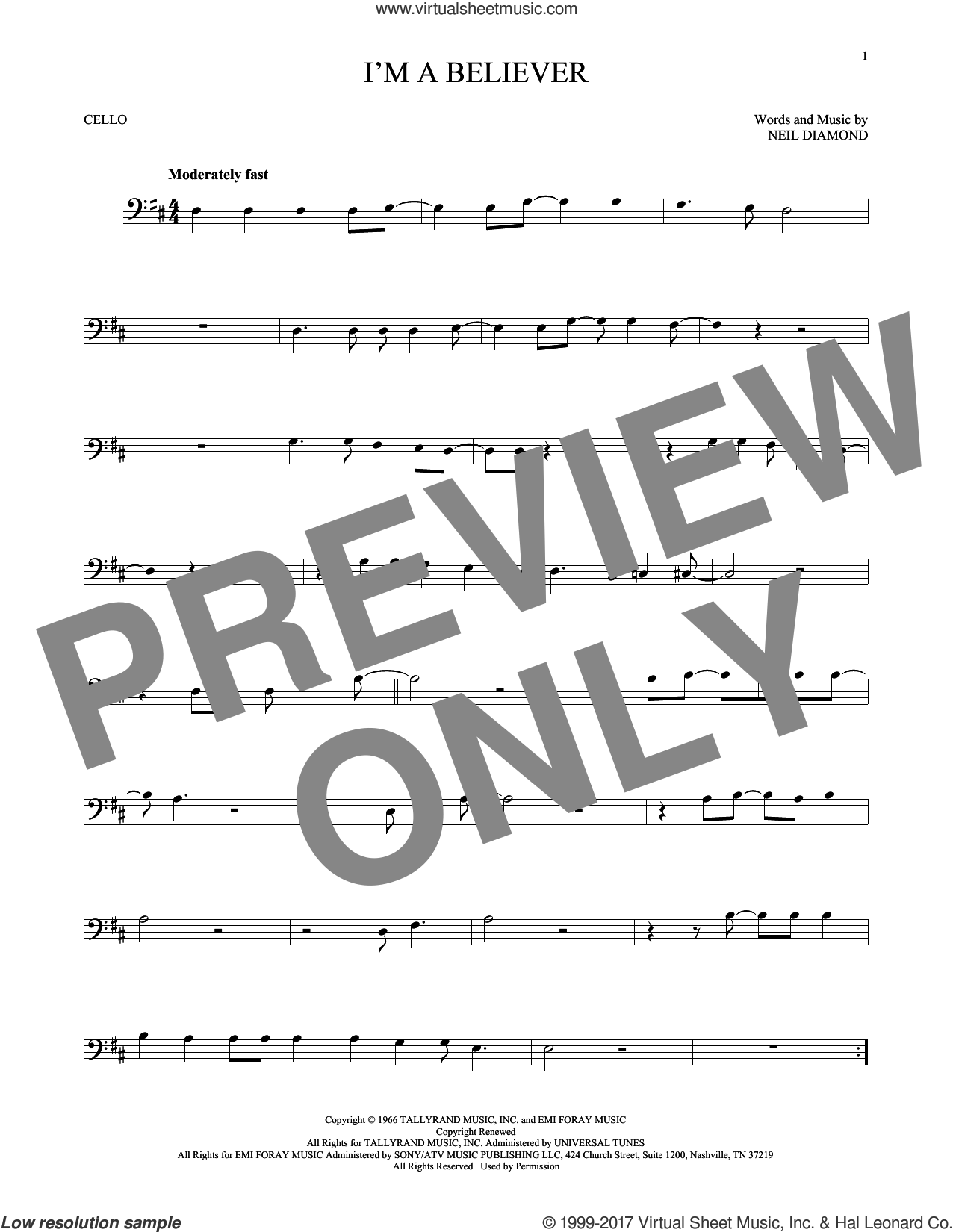 I'm A Believer sheet music for cello solo by Neil Diamond and The Monkees, intermediate skill level