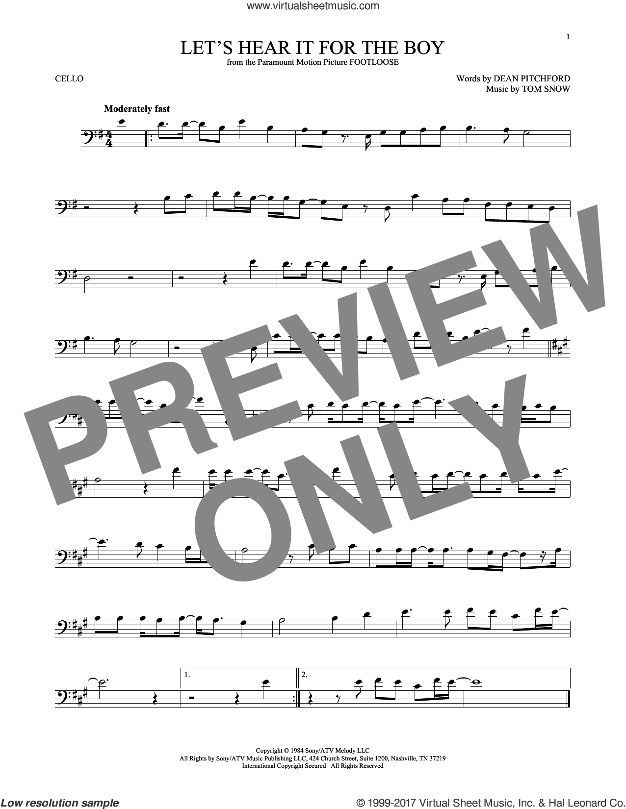 Let's Hear It For The Boy sheet music for cello solo by Deniece Williams, Dean Pitchford and Tom Snow, intermediate skill level