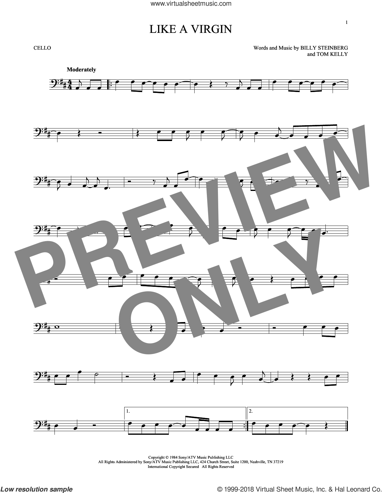 Like A Virgin sheet music for cello solo by Madonna, Billy Steinberg and Tom Kelly, intermediate. Score Image Preview.