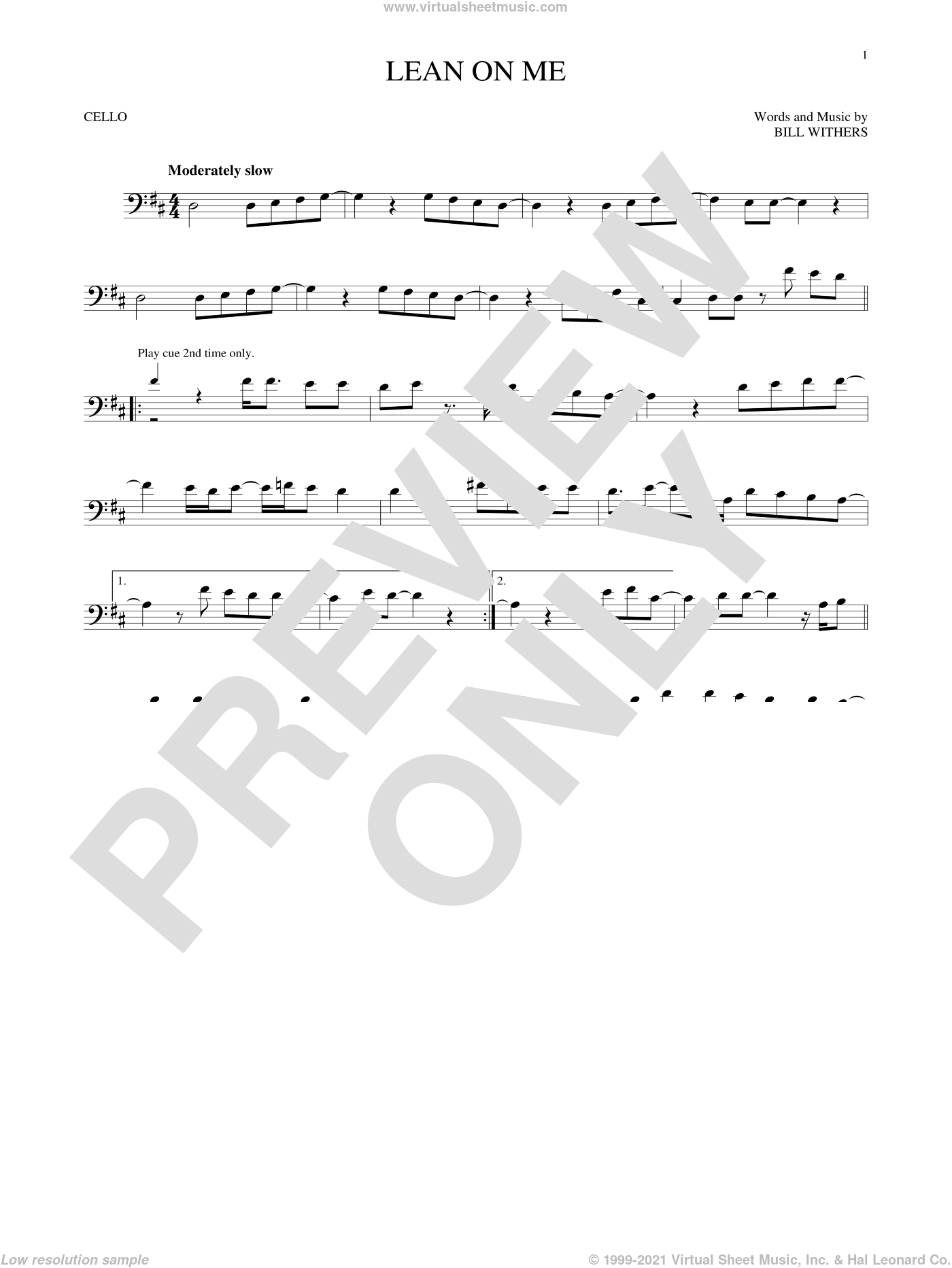 Lean On Me sheet music for cello solo by Bill Withers and Club Nouveau, intermediate skill level