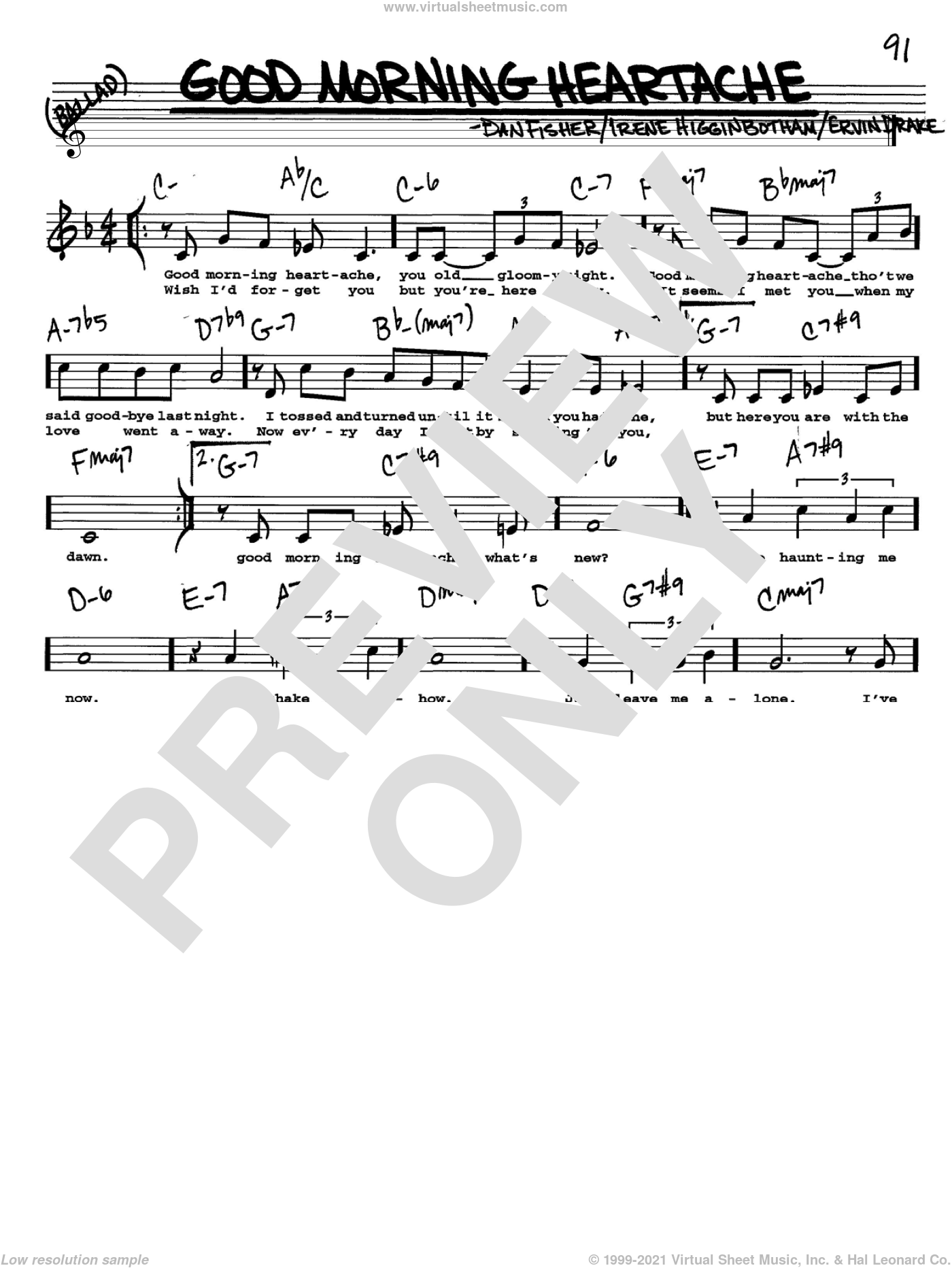 Good Morning Heartache sheet music for voice and other instruments (Vocal Volume 2) by Irene Higginbotham, Billie Holiday, Dan Fisher and Ervin Drake. Score Image Preview.