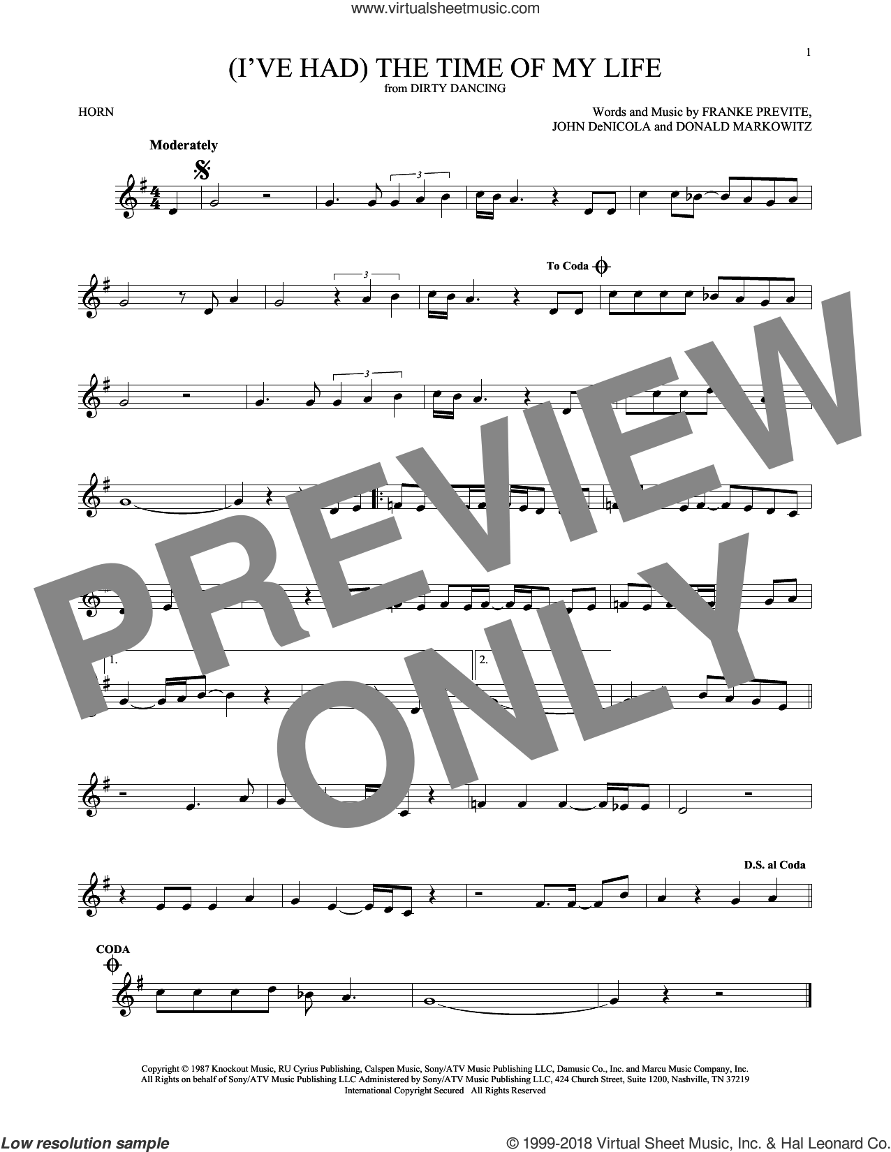 (I've Had) The Time Of My Life sheet music for horn solo by Bill Medley & Jennifer Warnes, Donald Markowitz, Franke Previte and John DeNicola, intermediate skill level
