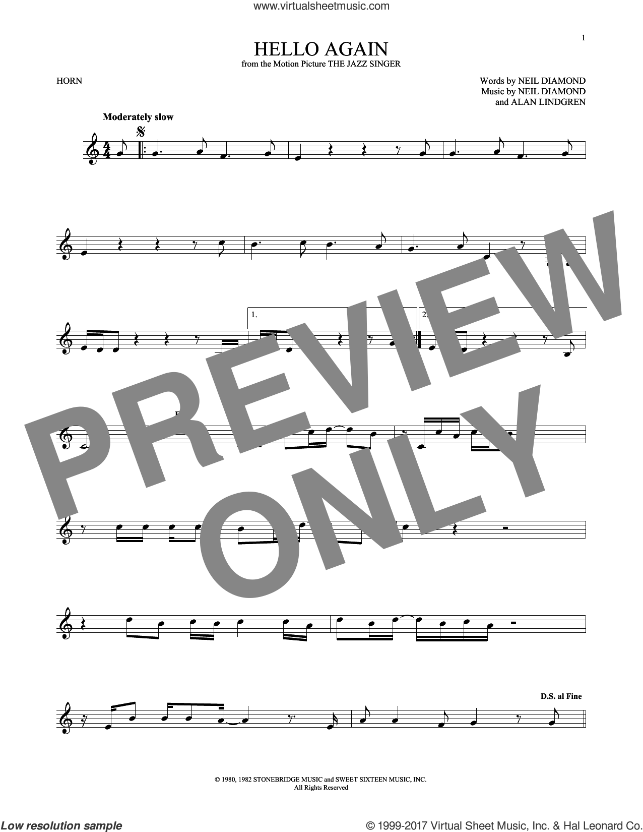 Hello Again sheet music for horn solo by Neil Diamond, intermediate. Score Image Preview.