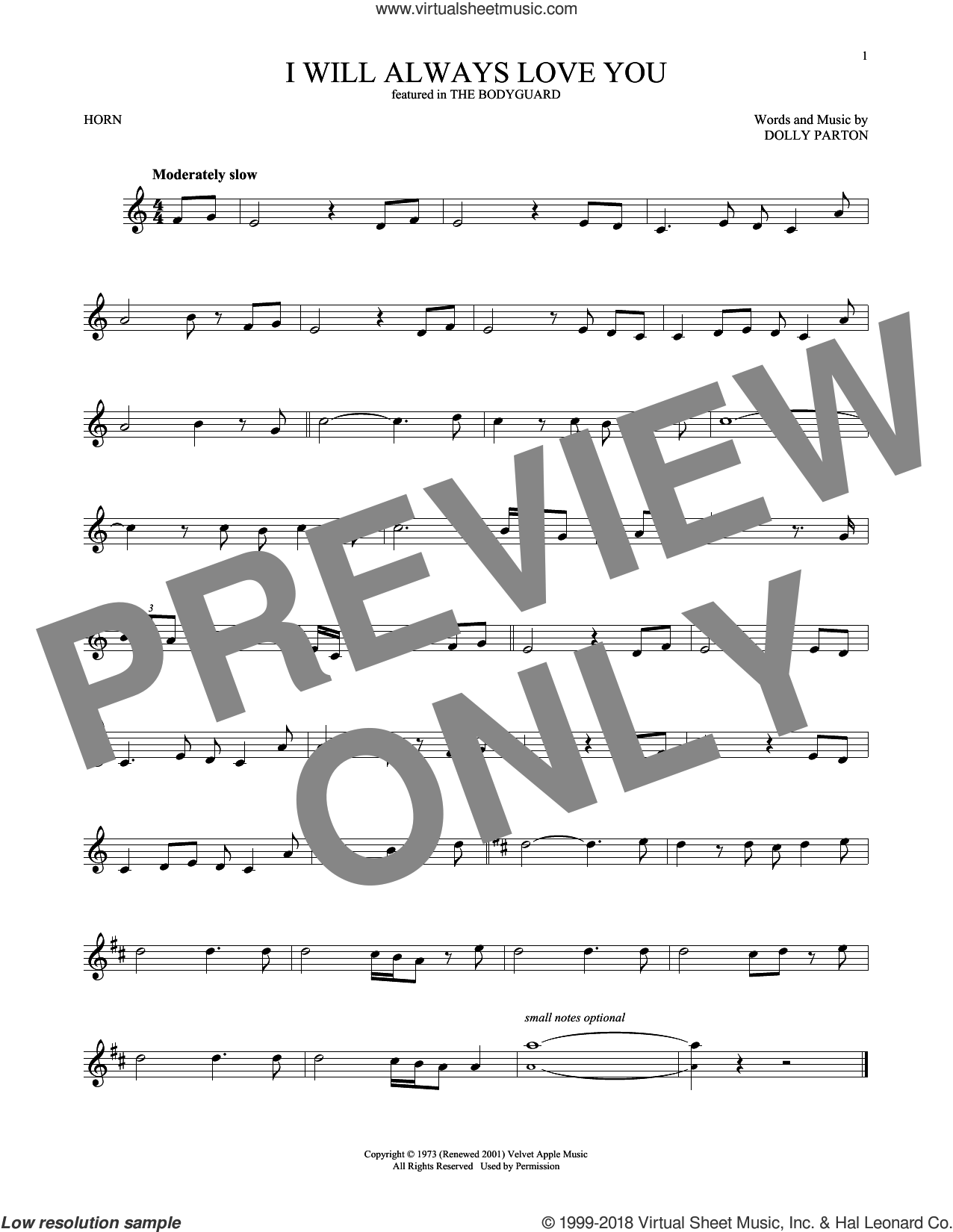 I Will Always Love You sheet music for horn solo by Whitney Houston and Dolly Parton, intermediate skill level