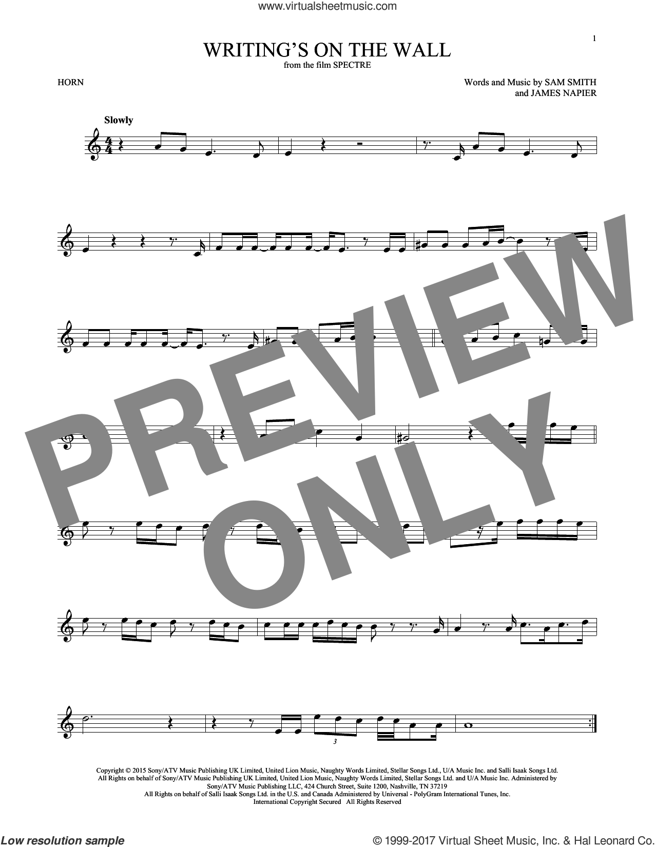 Writing's On The Wall sheet music for horn solo by Sam Smith. Score Image Preview.