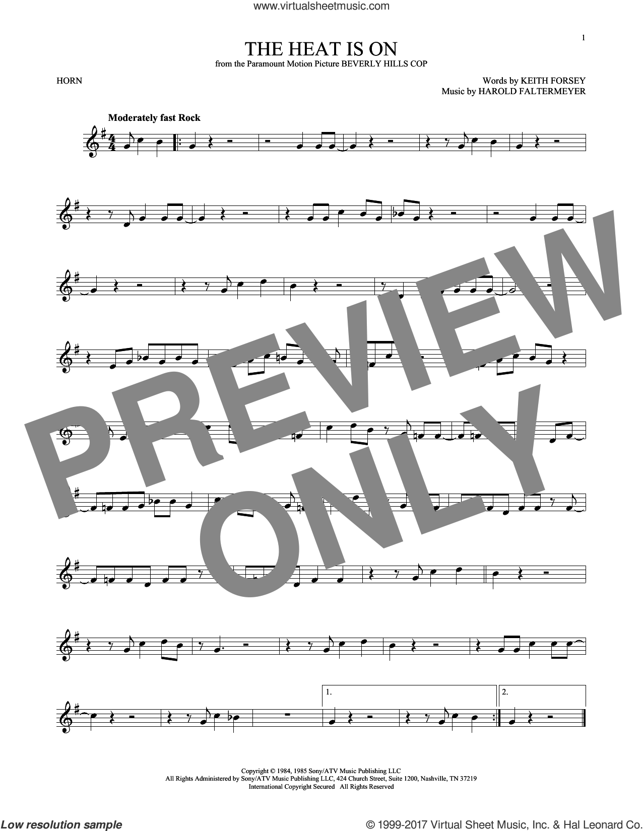 The Heat Is On sheet music for horn solo by Glenn Frey, Harold Faltermeyer and Keith Forsey, intermediate. Score Image Preview.