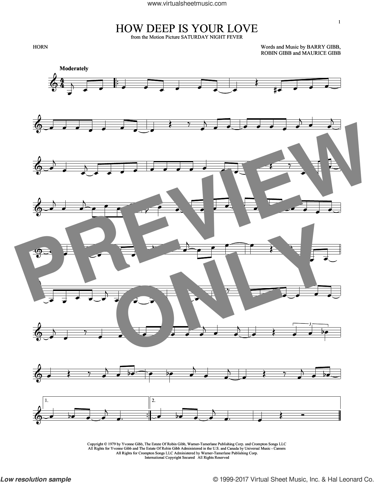 How Deep Is Your Love sheet music for horn solo by Barry Gibb, Bee Gees, Maurice Gibb and Robin Gibb, intermediate skill level
