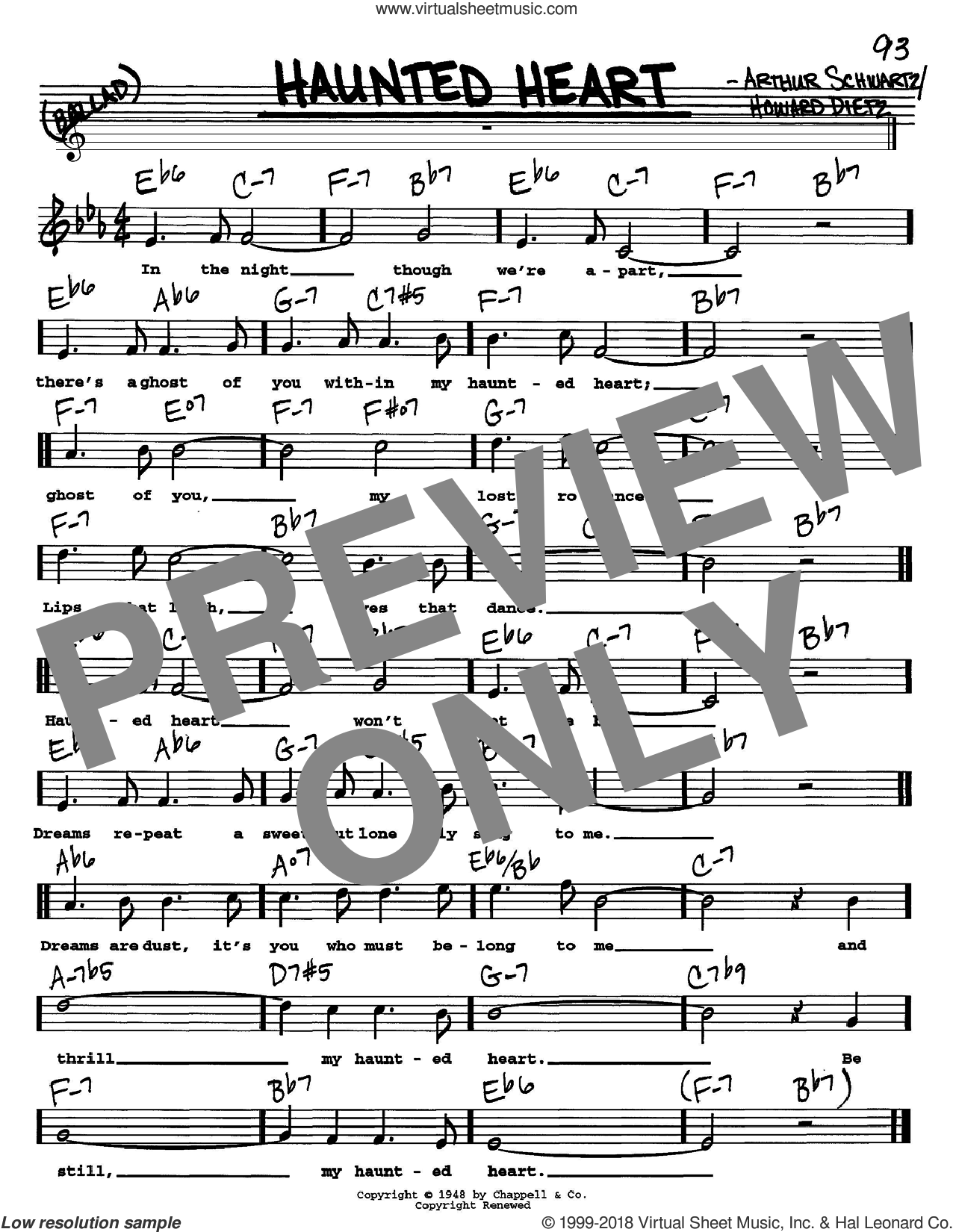 Haunted Heart sheet music for voice and other instruments (Vocal Volume 2) by Frank Sinatra, Arthur Schwartz and Howard Dietz, intermediate. Score Image Preview.