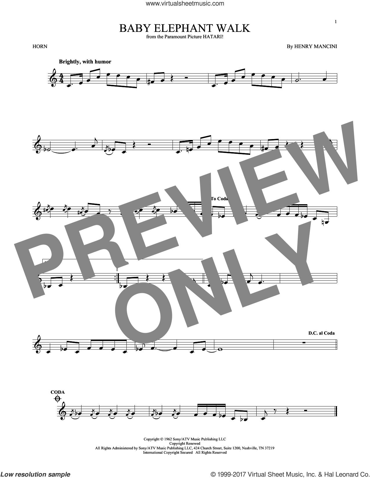 Baby Elephant Walk sheet music for horn solo by Henry Mancini, intermediate skill level