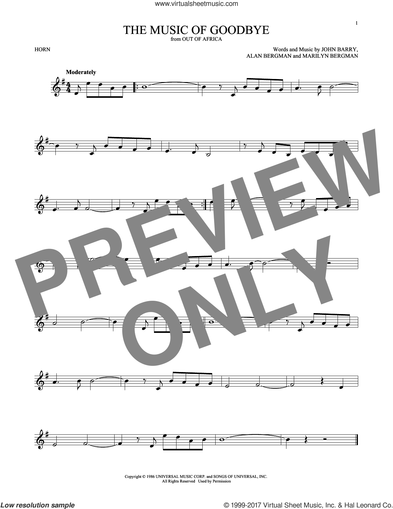 The Music Of Goodbye sheet music for horn solo by John Barry, Alan Bergman and Marilyn Bergman, intermediate skill level