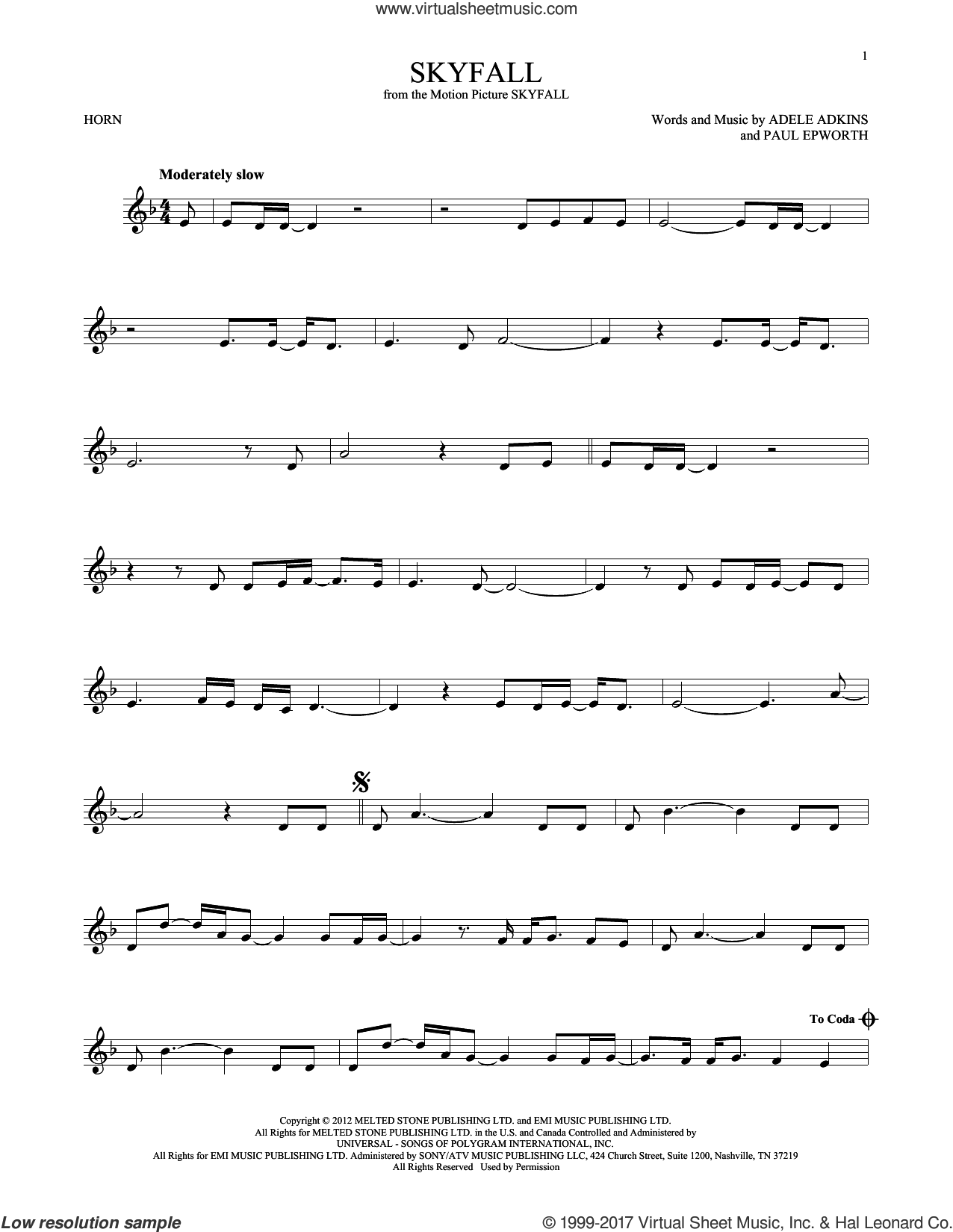 Skyfall sheet music for horn solo by Adele, Adele Adkins and Paul Epworth, intermediate skill level