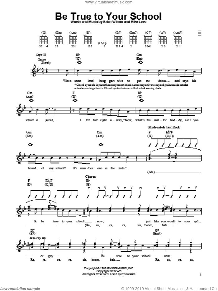 Be True To Your School sheet music for guitar solo (chords) by The Beach Boys, Brian Wilson and Mike Love, easy guitar (chords)