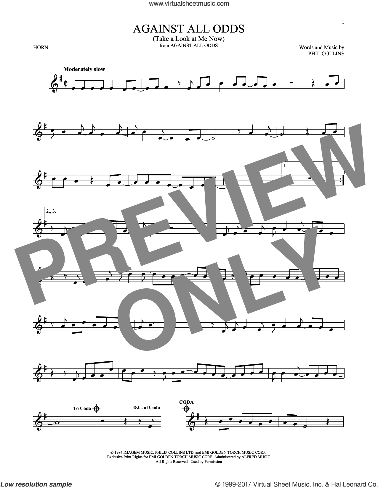 Against All Odds (Take A Look At Me Now) sheet music for horn solo by Phil Collins, intermediate. Score Image Preview.