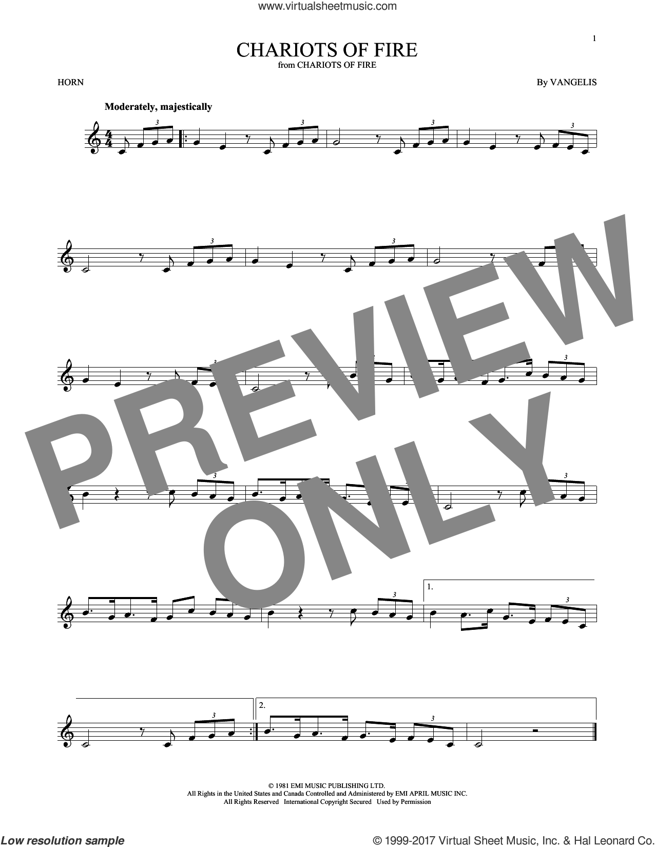 Chariots Of Fire sheet music for horn solo by Vangelis, intermediate skill level