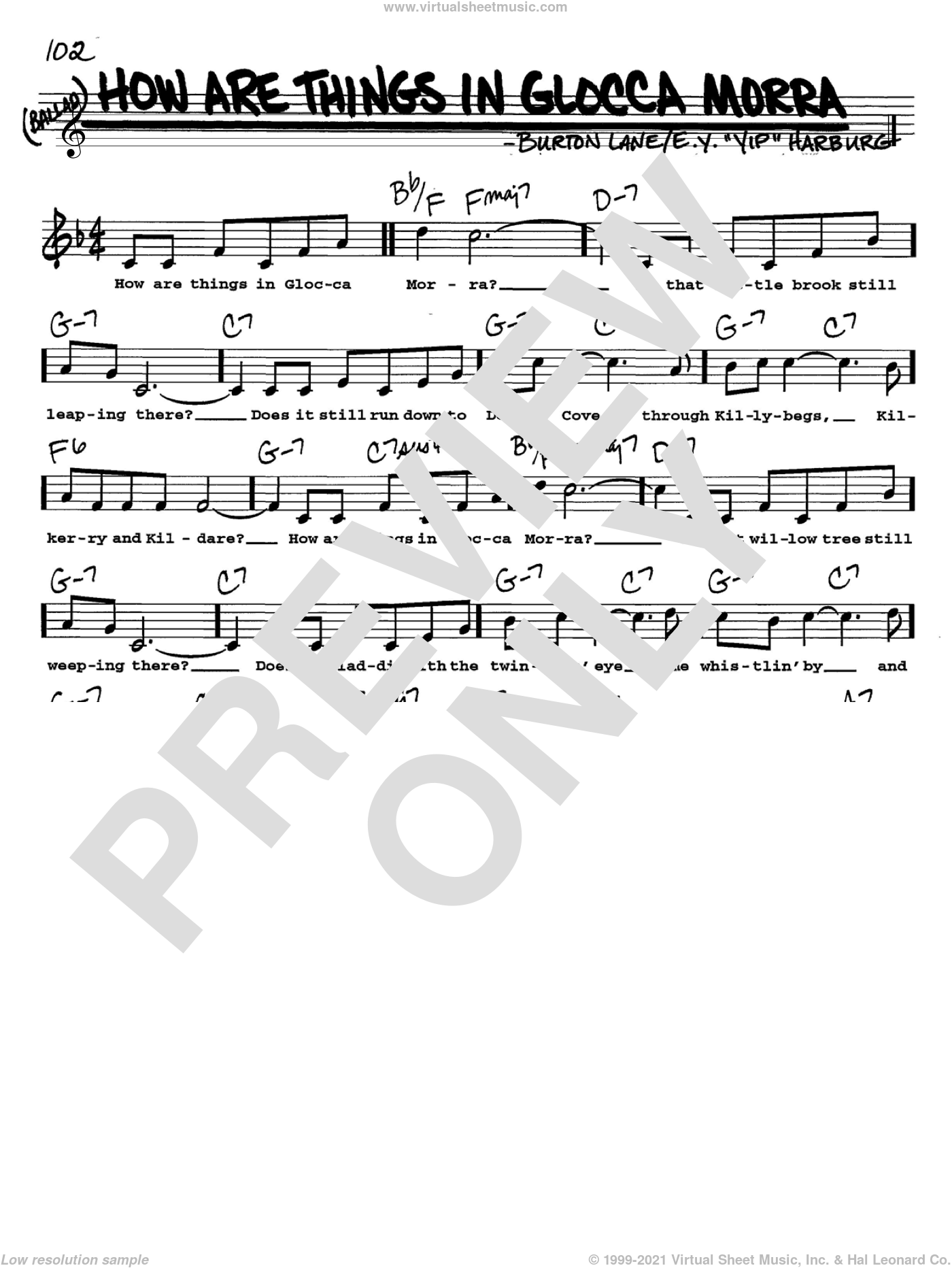 How Are Things In Glocca Morra sheet music for voice and other instruments (Vocal Volume 2) by E.Y. Harburg and Burton Lane. Score Image Preview.