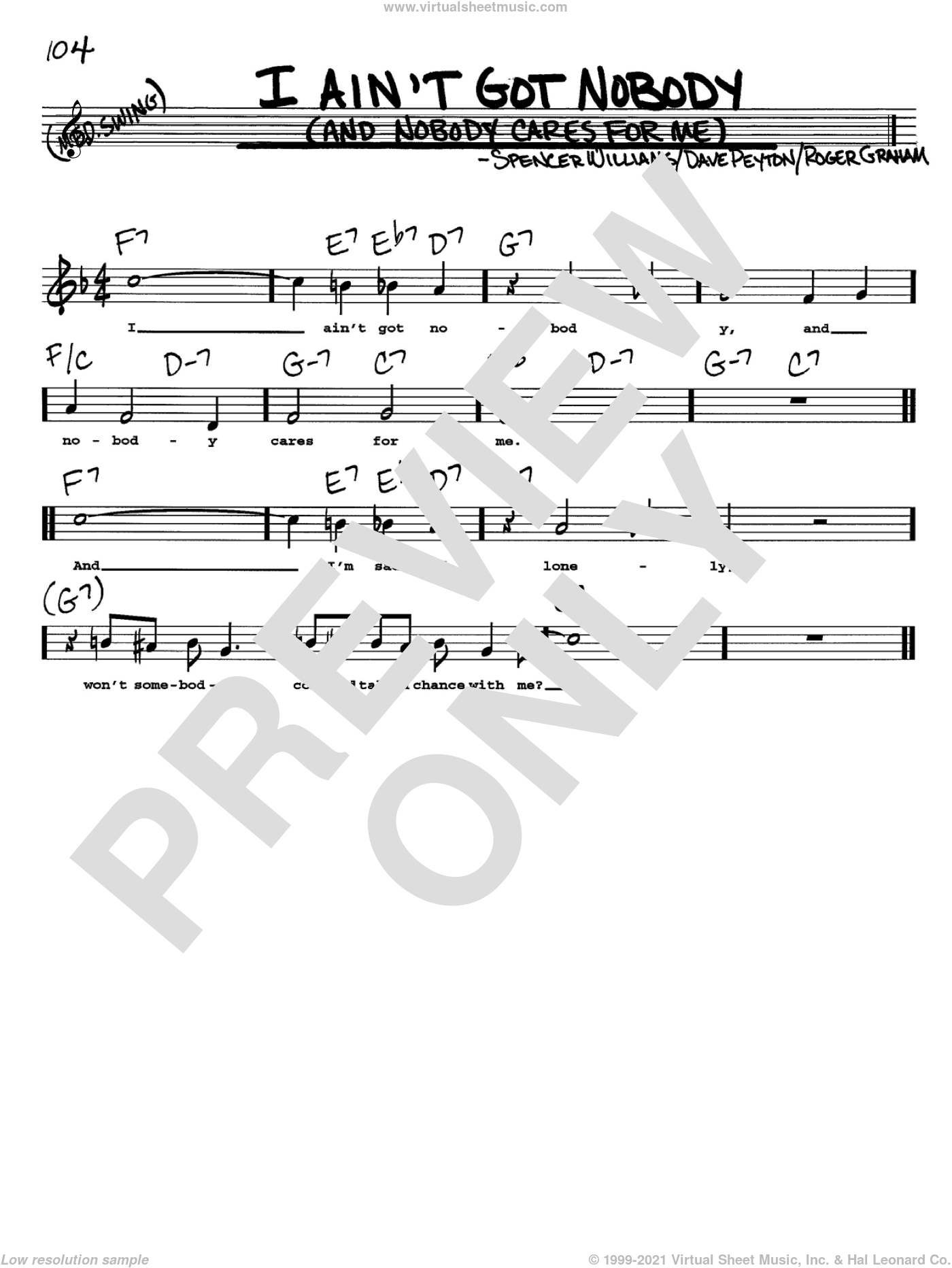 I Ain't Got Nobody (And Nobody Cares For Me) sheet music for voice and other instruments (Vocal Volume 2) by Spencer Williams