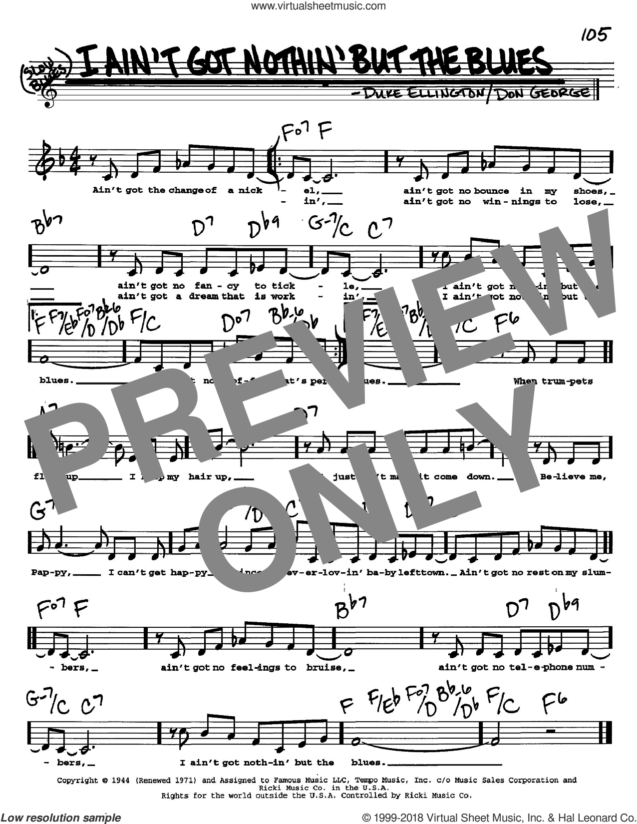 I Ain't Got Nothin' But The Blues sheet music for voice and other instruments (Vocal Volume 2) by Duke Ellington and Don George, intermediate voice. Score Image Preview.