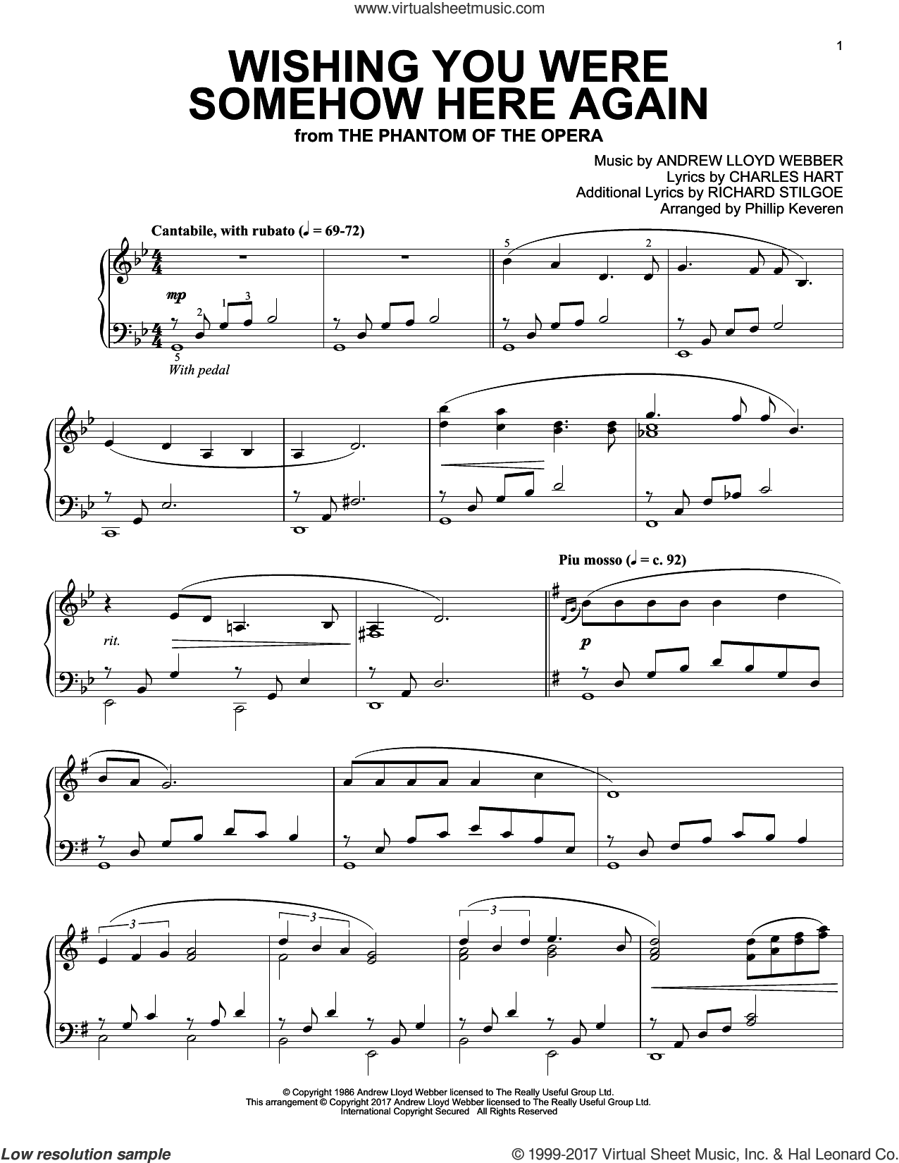 Wishing You Were Somehow Here Again (from The Phantom Of The Opera) sheet music for piano solo by Andrew Lloyd Webber, Phillip Keveren, Charles Hart and Richard Stilgoe, intermediate skill level